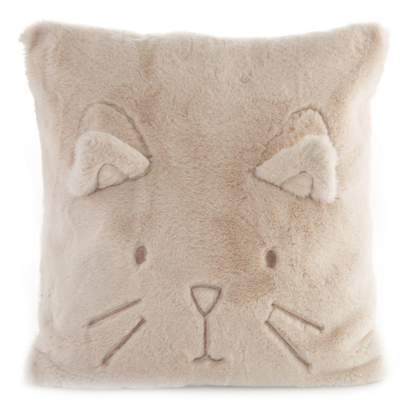 Poszewka na poduszkę 45 x 45 cm kotek z wąsami i uszkami pudrowa