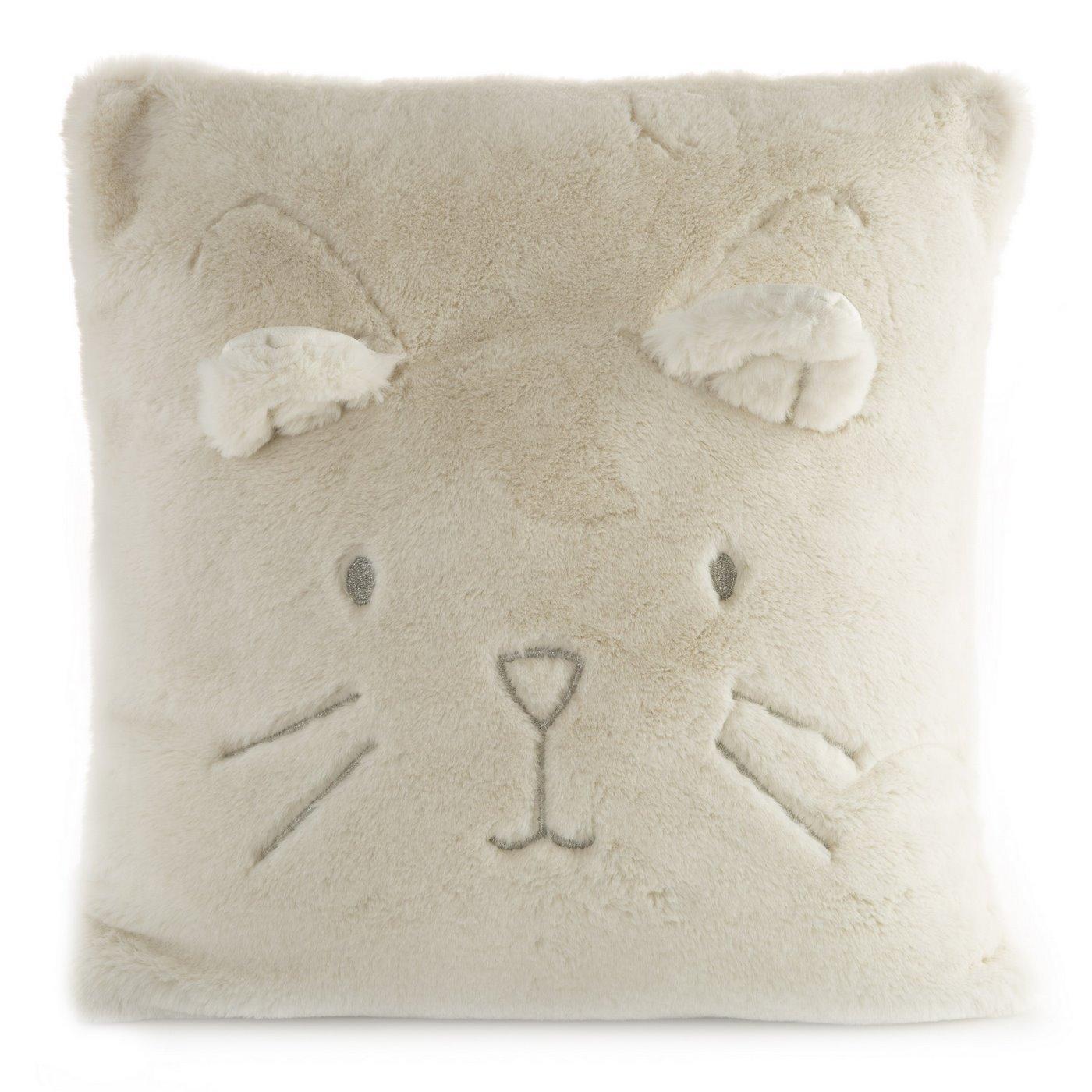 Poszewka na poduszkę 45 x 45 cm kotek z wąsami i uszkami kremowa