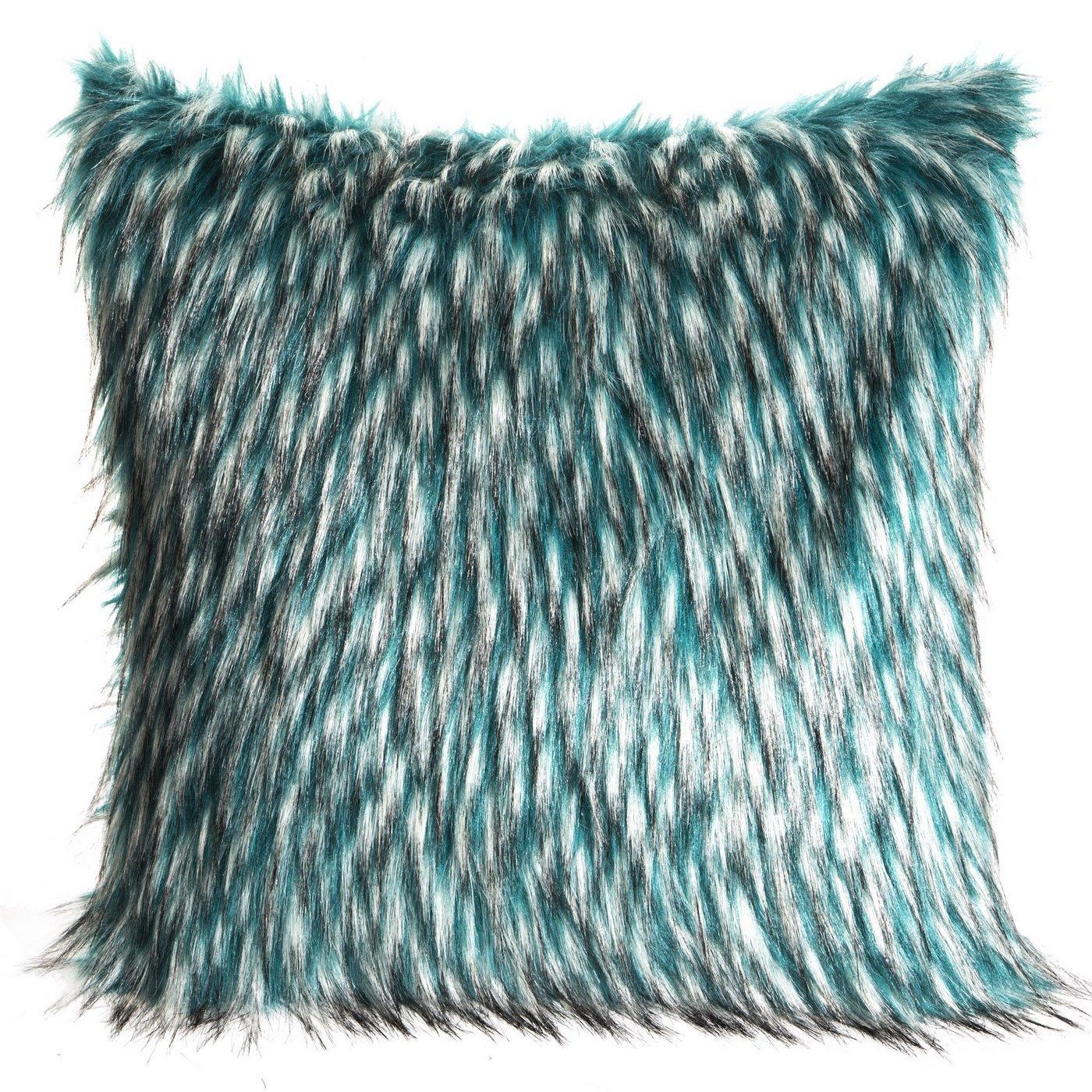 Poszewka na poduszkę 45 x 45 cm włochate futerko dwukolorowe turkusowo białe