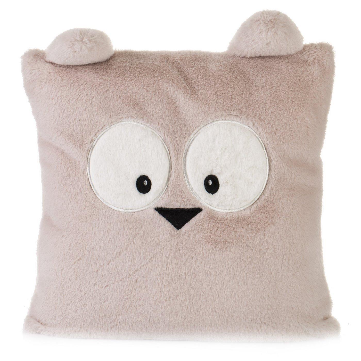 Poszewka na poduszkę 45 x 45 cm zwierzątko z dużymi oczami różowa