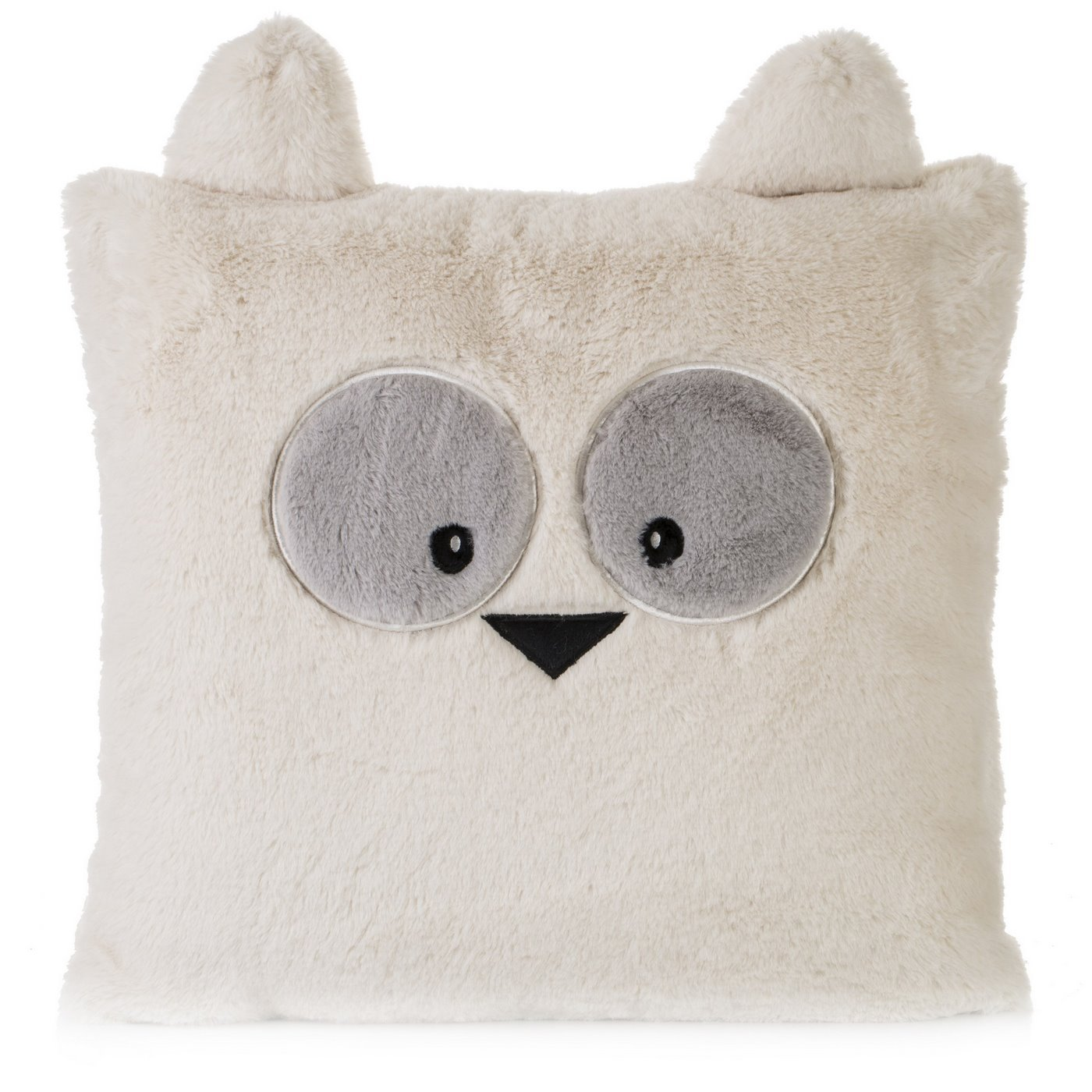 Poszewka na poduszkę 45 x 45 cm zwierzątko z dużymi oczami kremowa