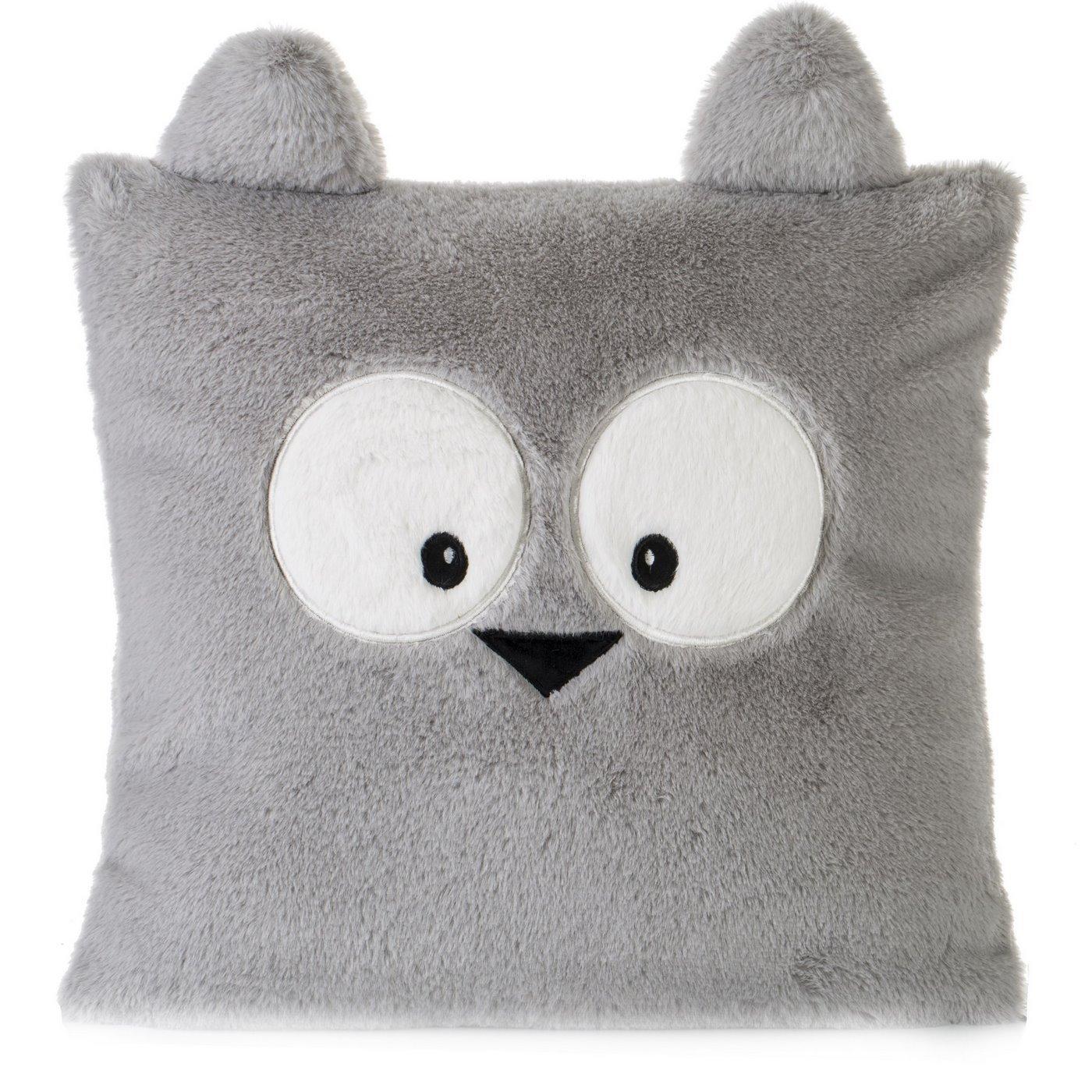 Poszewka na poduszkę 45 x 45 cm zwierzątko z dużymi oczami srebrna