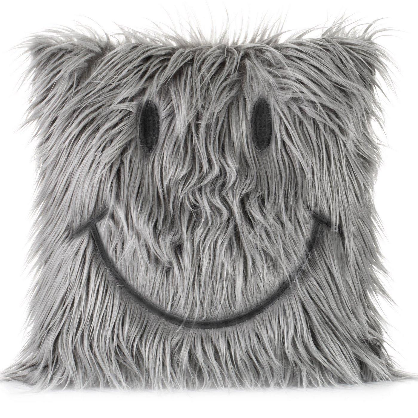 Poszewka na poduszkę futerko uśmiech 45 x 45 cm szara