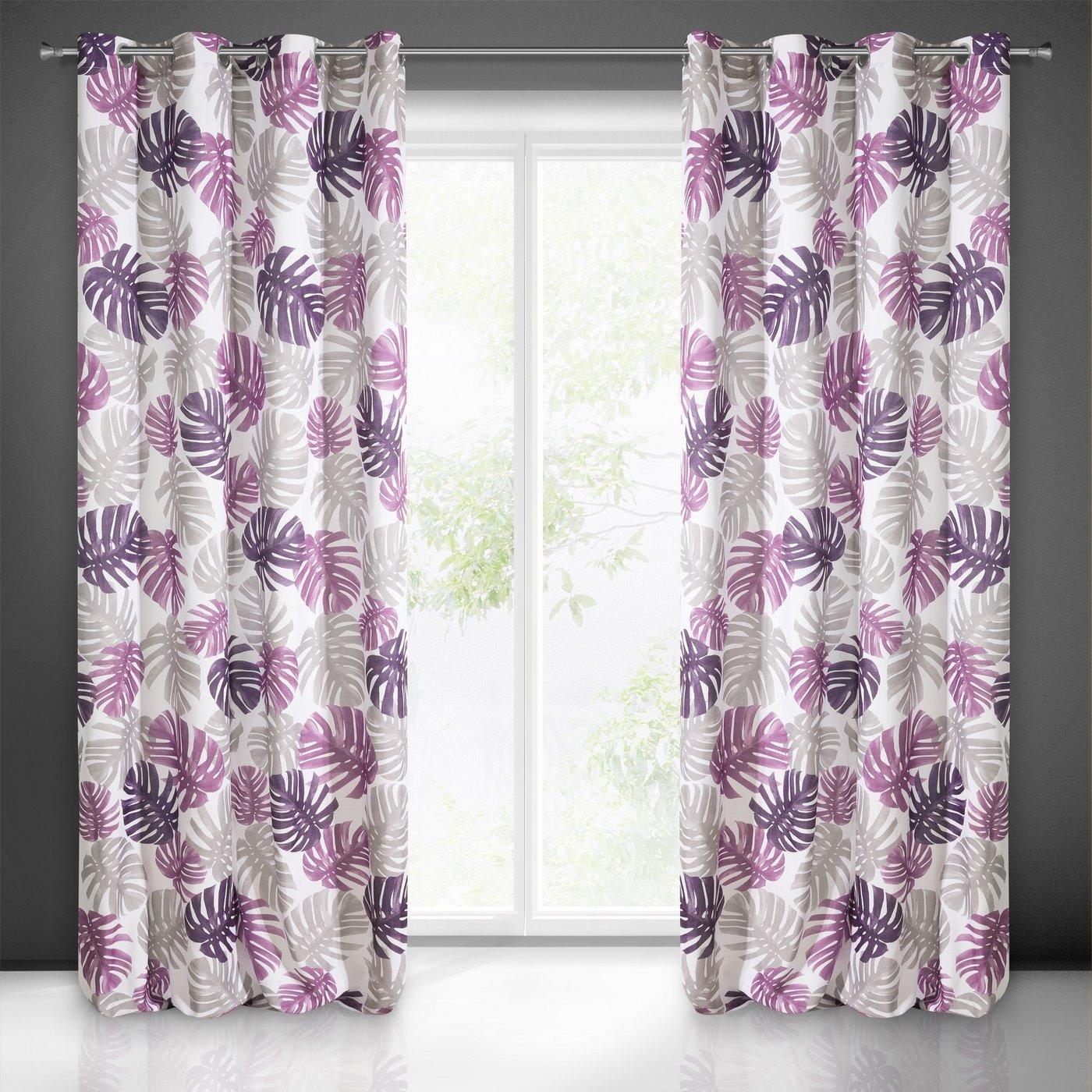 Zasłona liście monstery fiolet i róż 140x250 na przelotkach