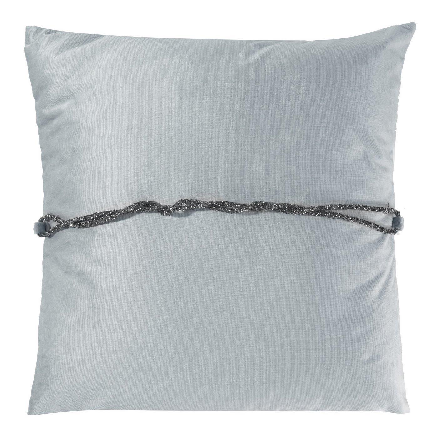 Poszewka na poduszkę 45 x 45 cm srebrna ze srebrnym paskiem