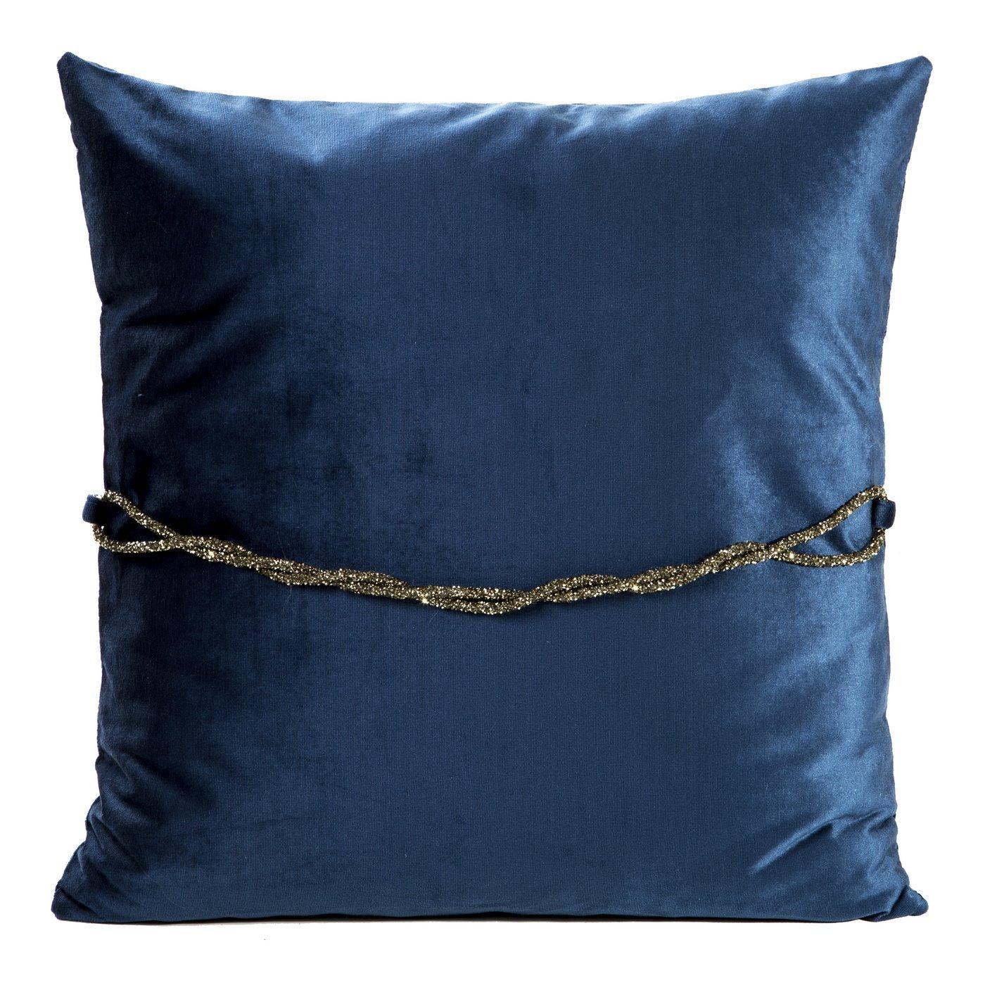 Poszewka na poduszkę 45 x 45 cm granatowa ze srebrnym paskiem