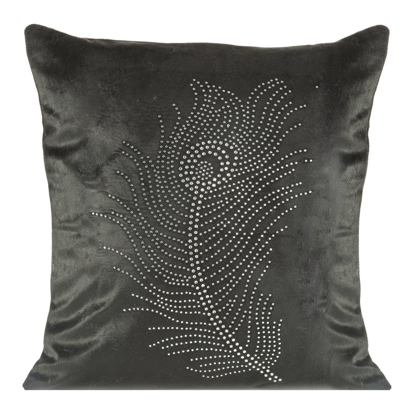 Poszewka na poduszkę 40 x 40 cm czarna pióro
