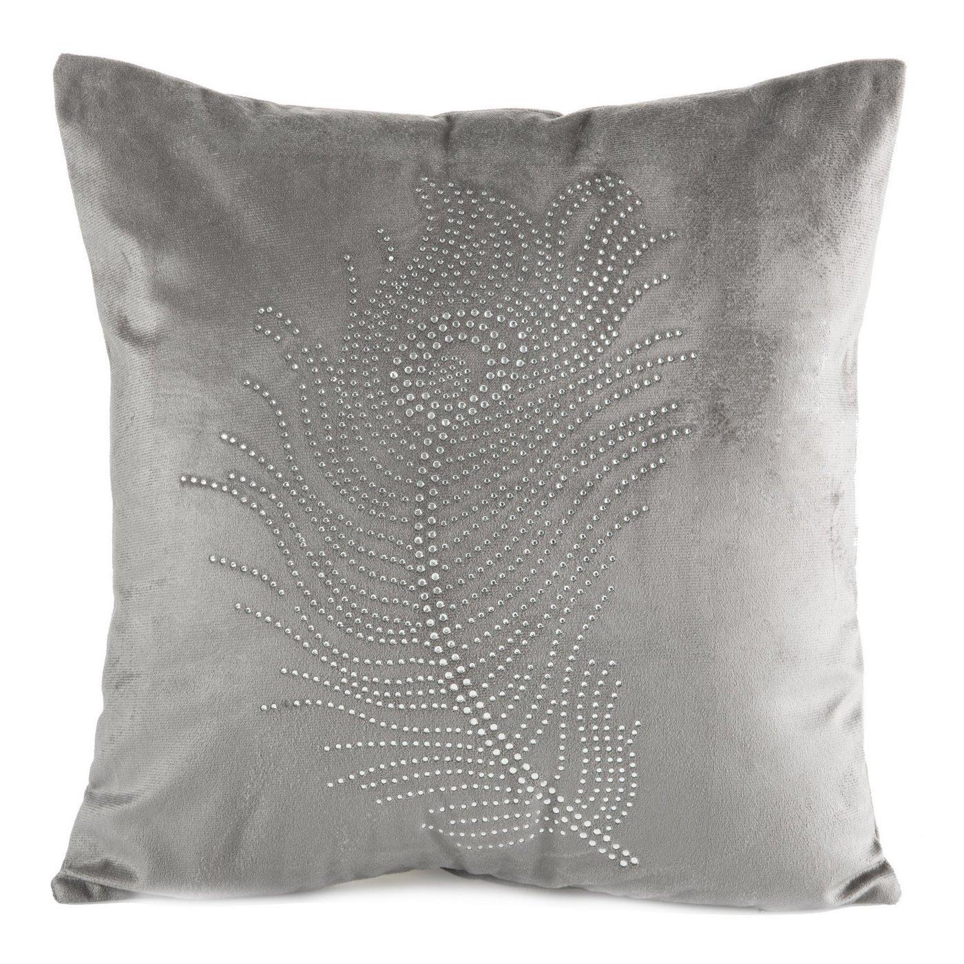 Poszewka na poduszkę 40 x 40 cm szara pióro