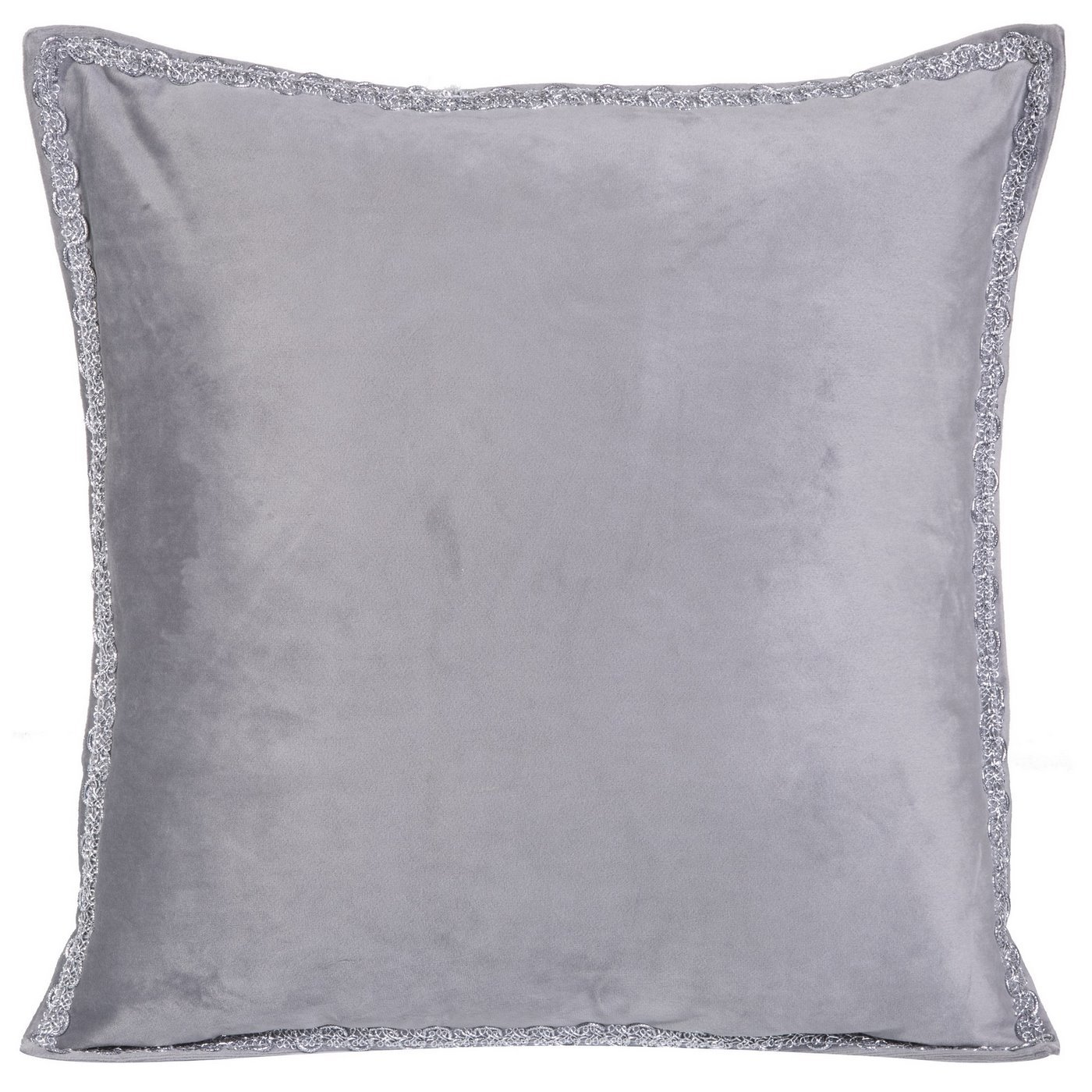 Elegancka poszewka na poduszkę srebrna ze srebrnym wykończeniem 40 x 40 cm