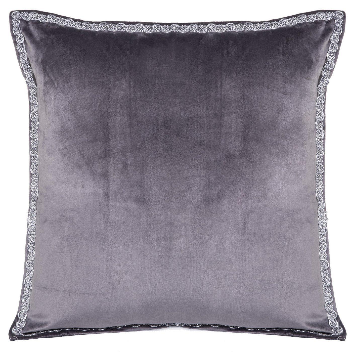 Elegancka poszewka na poduszkę ciemnoszara ze srebrnym wykończeniem 40 x 40 cm