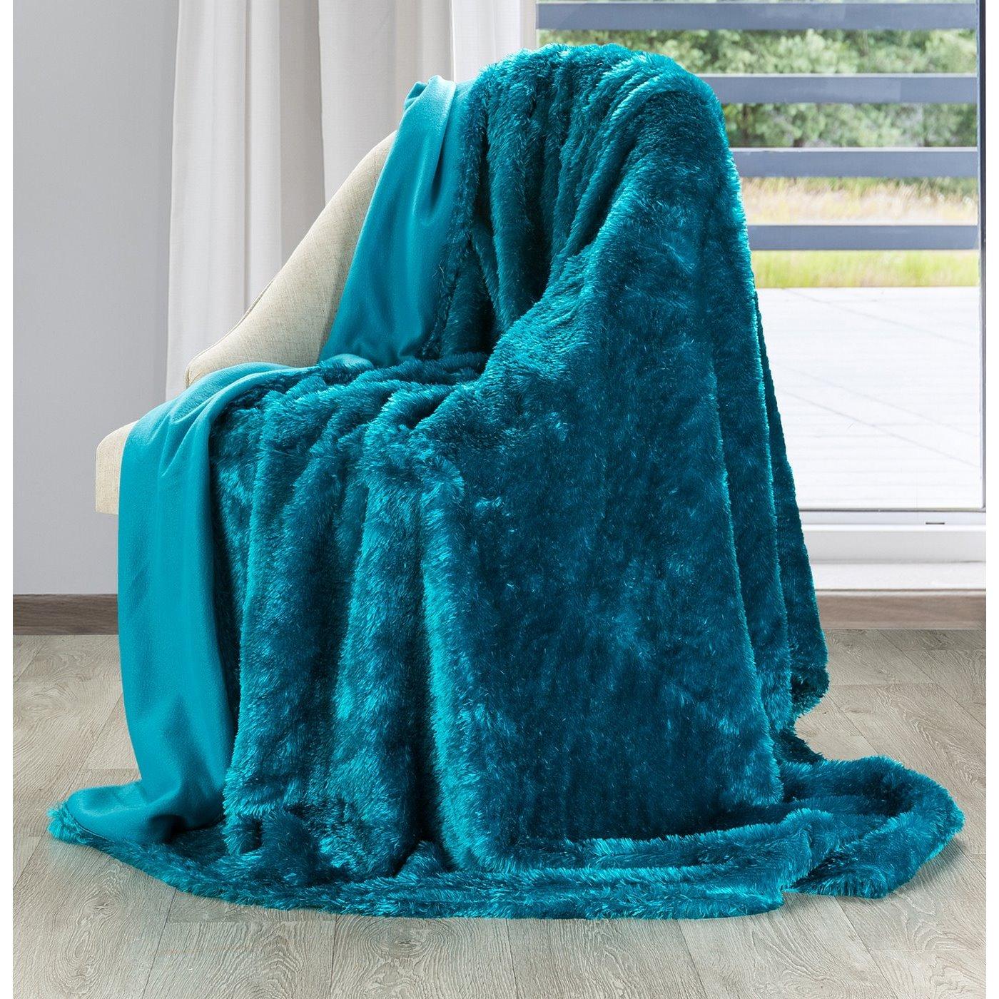 Futerkowy miękki koc TURKUSOWY z długim włosiem 150x200
