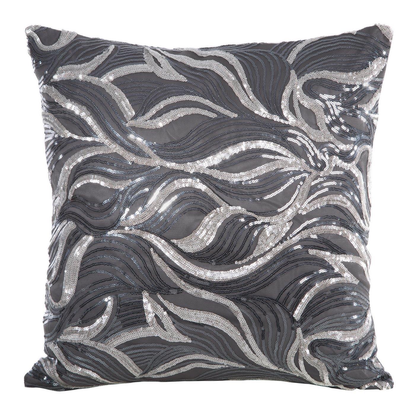 Poszewka na poduszkę szaro srebrna 45 x 45 cm