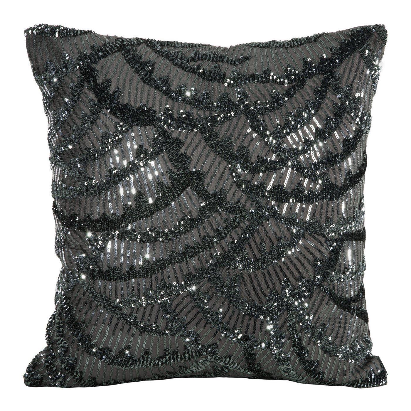 Poszewka na poduszkę 45 x 45 cm lśniąca stalowa