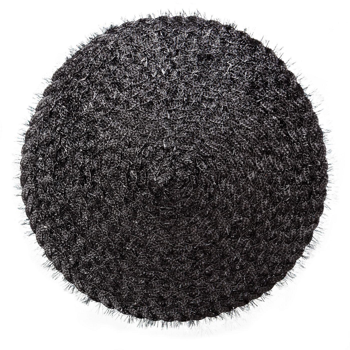 Włochata podkładka stołowa czarna okrągła średnica 38 cm