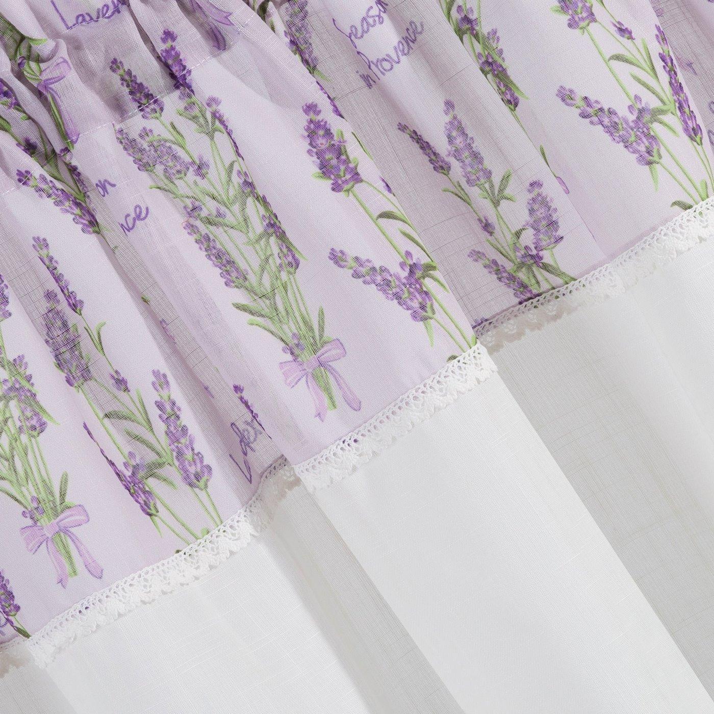 Firana Zazdrostka 60 x 150 cm biało fioletowa wrzosy