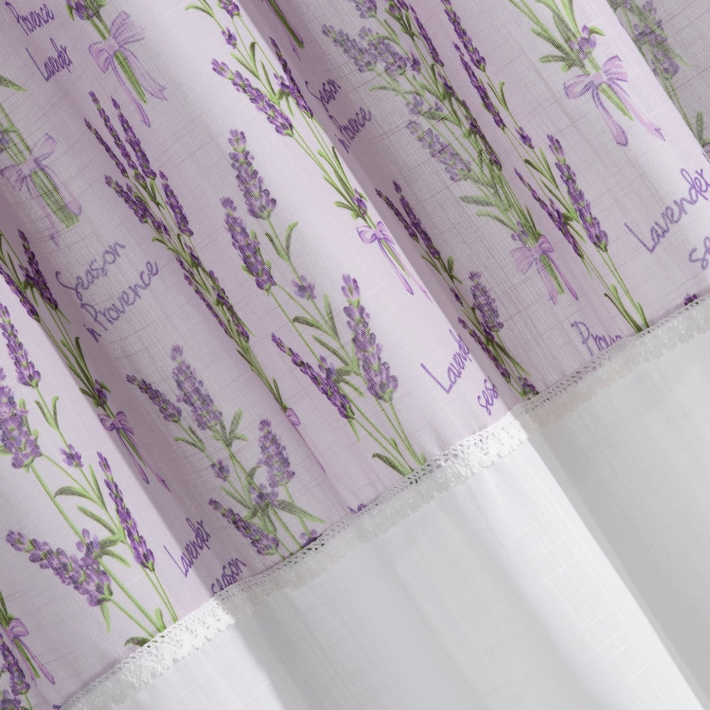 Firana Zazdrostka 90 x 150 cm biało fioletowa wrzosy