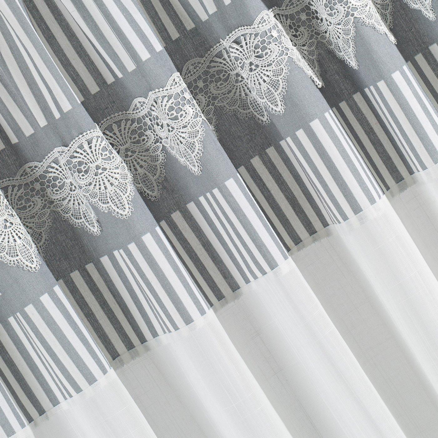 Zasłona srebrno biała z piękną koronką 140 x 250 cm na taśmie