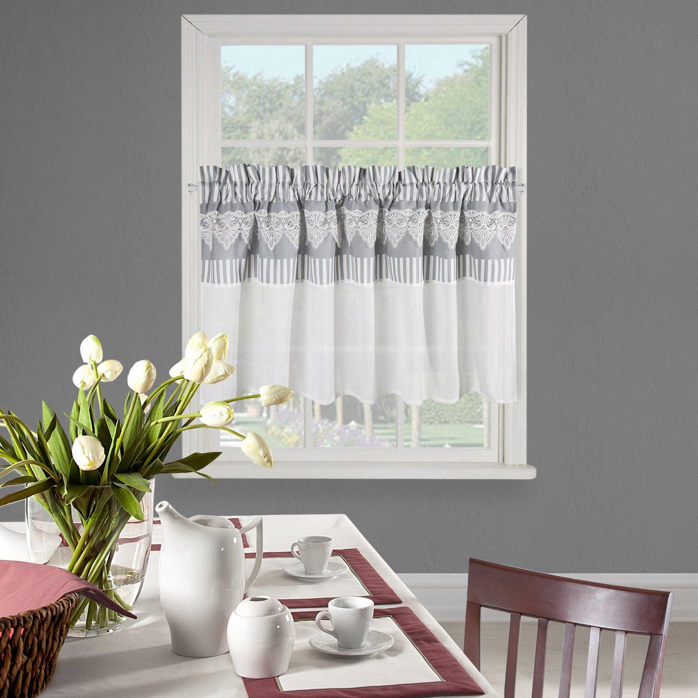 Firana zazdrostka 60 x 150 cm szaro biała z piękną koronką