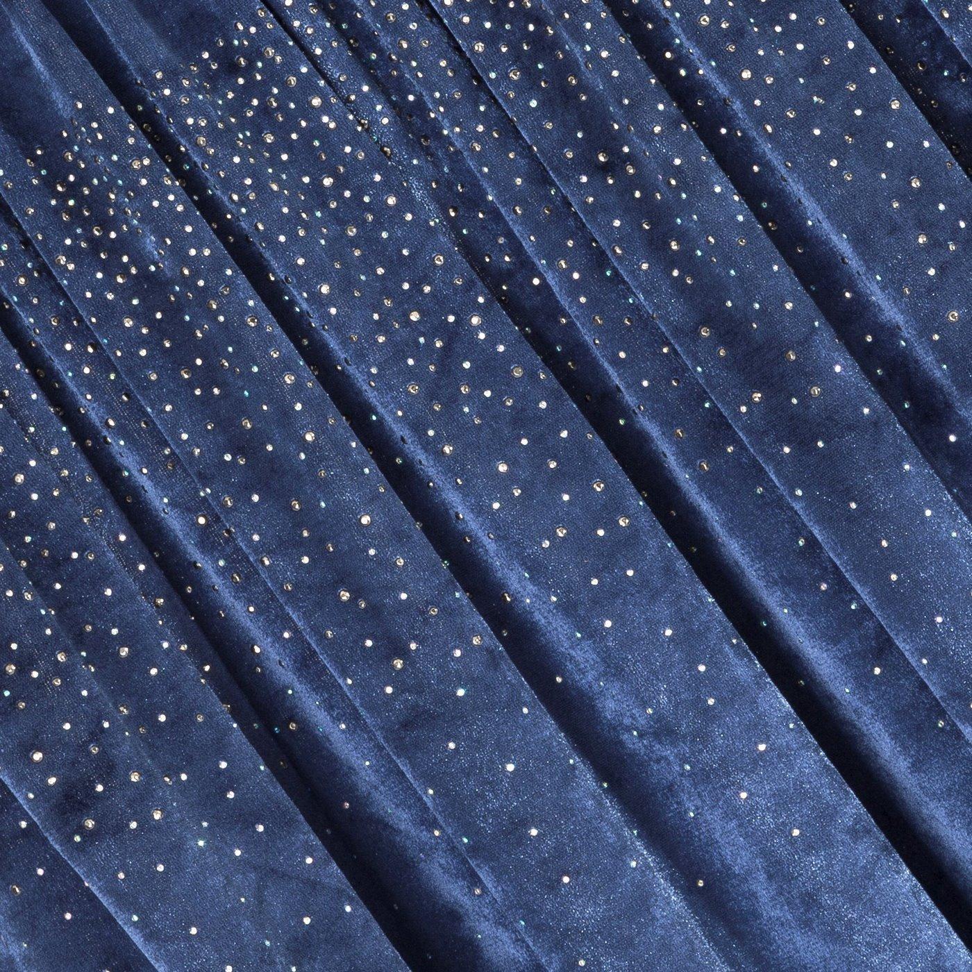 Zasłona welwetowa niebieska z kryształkami 140x270 cm taśma