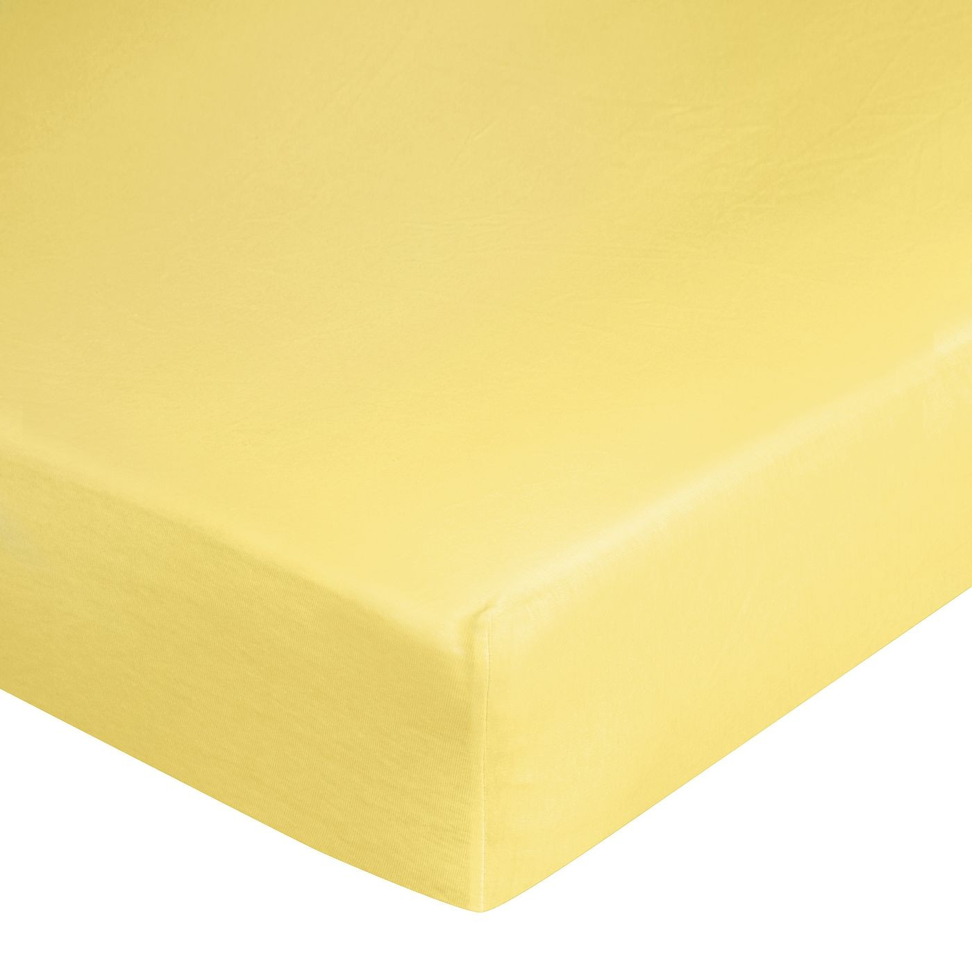 Żółte PRZEŚCIERADŁO BAWEŁNIANE  z jerseyu z gumką 140x200 cm