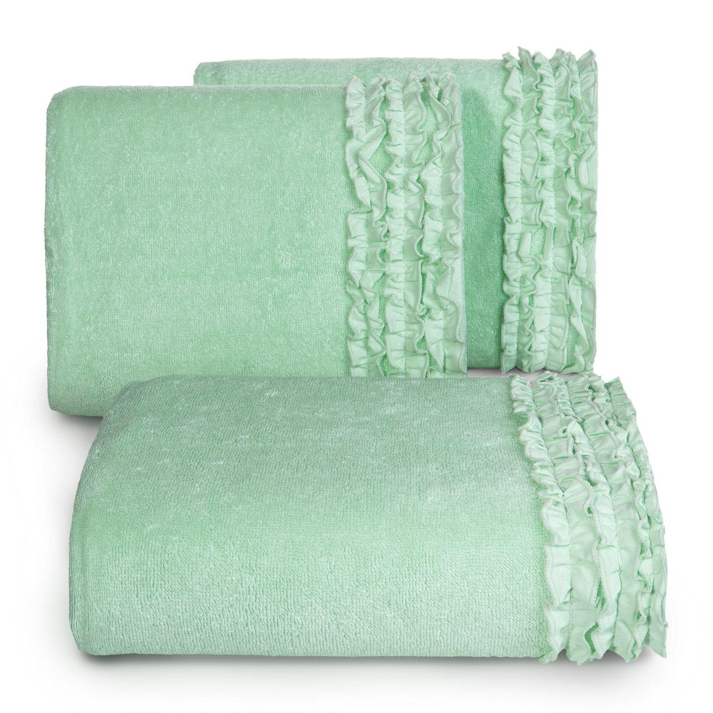 Ręcznik z bawełny z falbankami 50x90cm miętowy