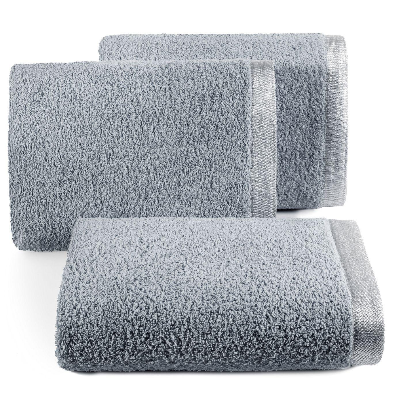Ręcznik z bawełny z błyszczącym brzegiem 50x90cm stalowy