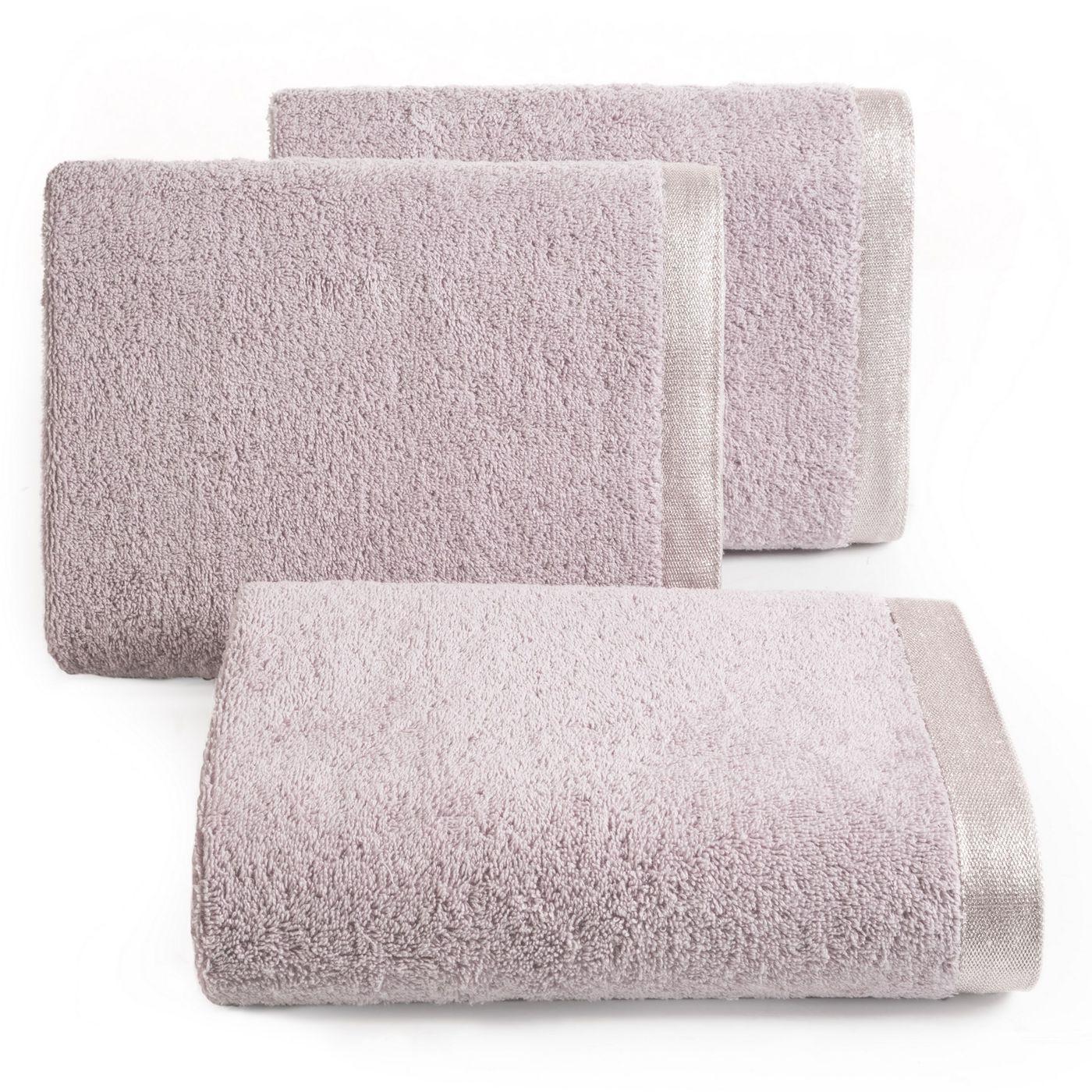 Ręcznik z bawełny z błyszczącym brzegiem 50x90cm różowy