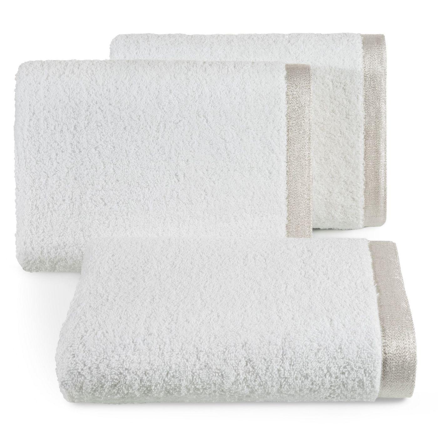 Ręcznik z bawełny z błyszczącym brzegiem 70x140cm biały