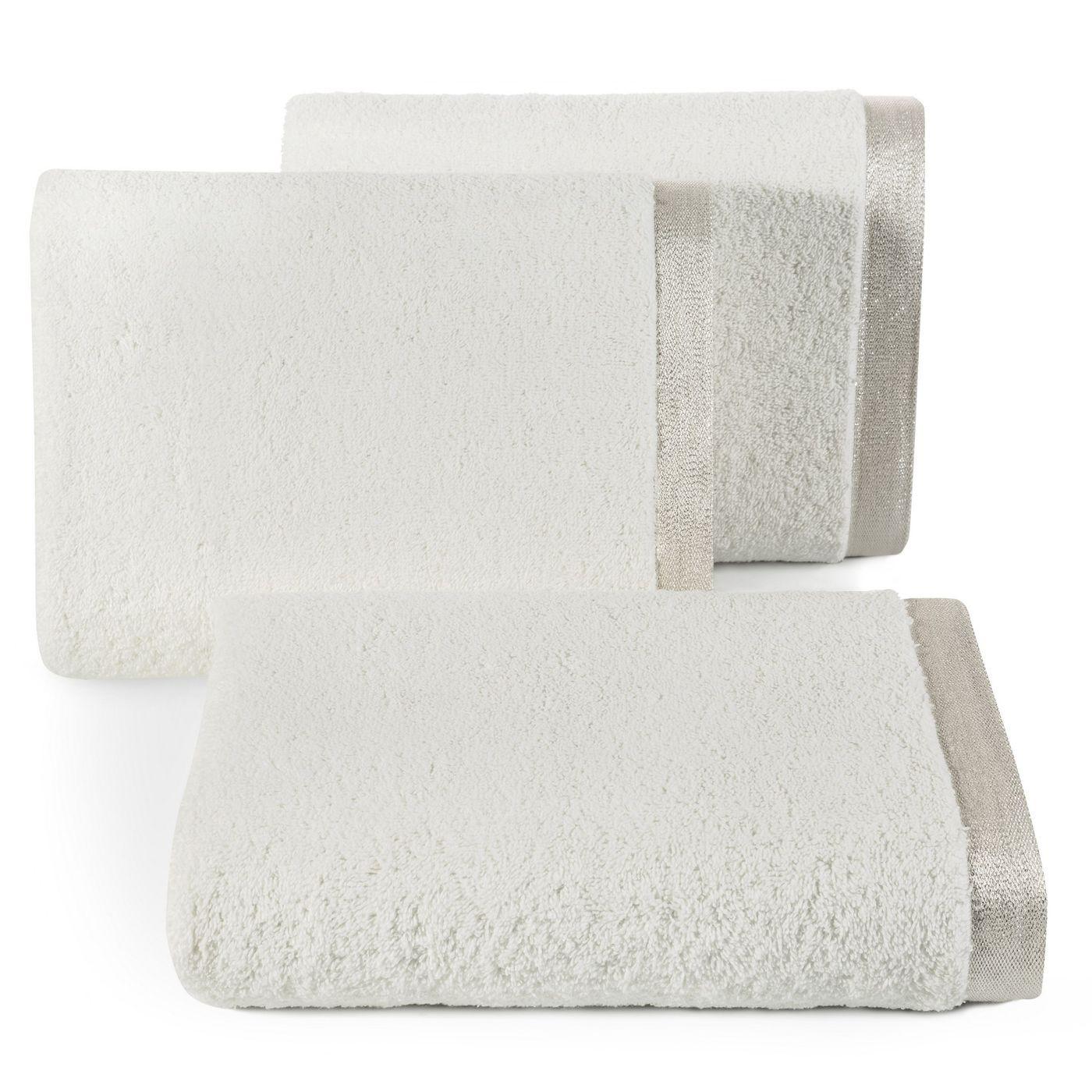 Ręcznik z bawełny z błyszczącym brzegiem 70x140cm kremowy