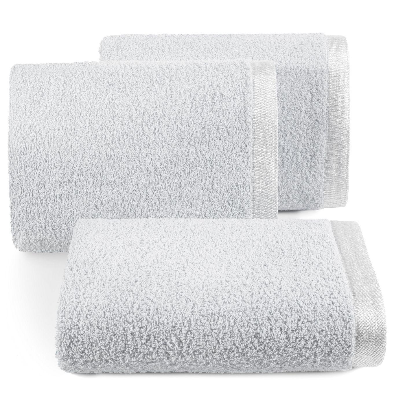 Ręcznik z bawełny z błyszczącym brzegiem 70x140cm popielaty
