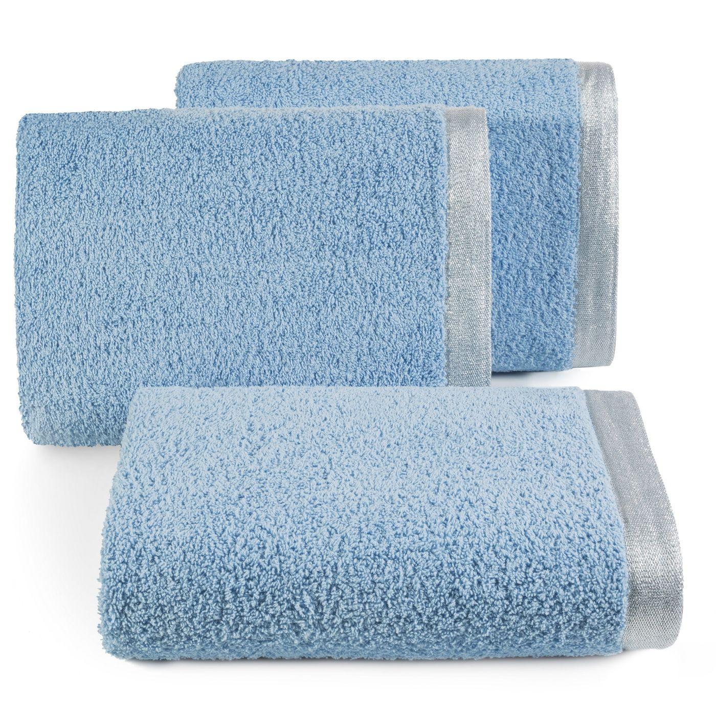 Ręcznik z bawełny z błyszczącym brzegiem 70x140cm niebieski