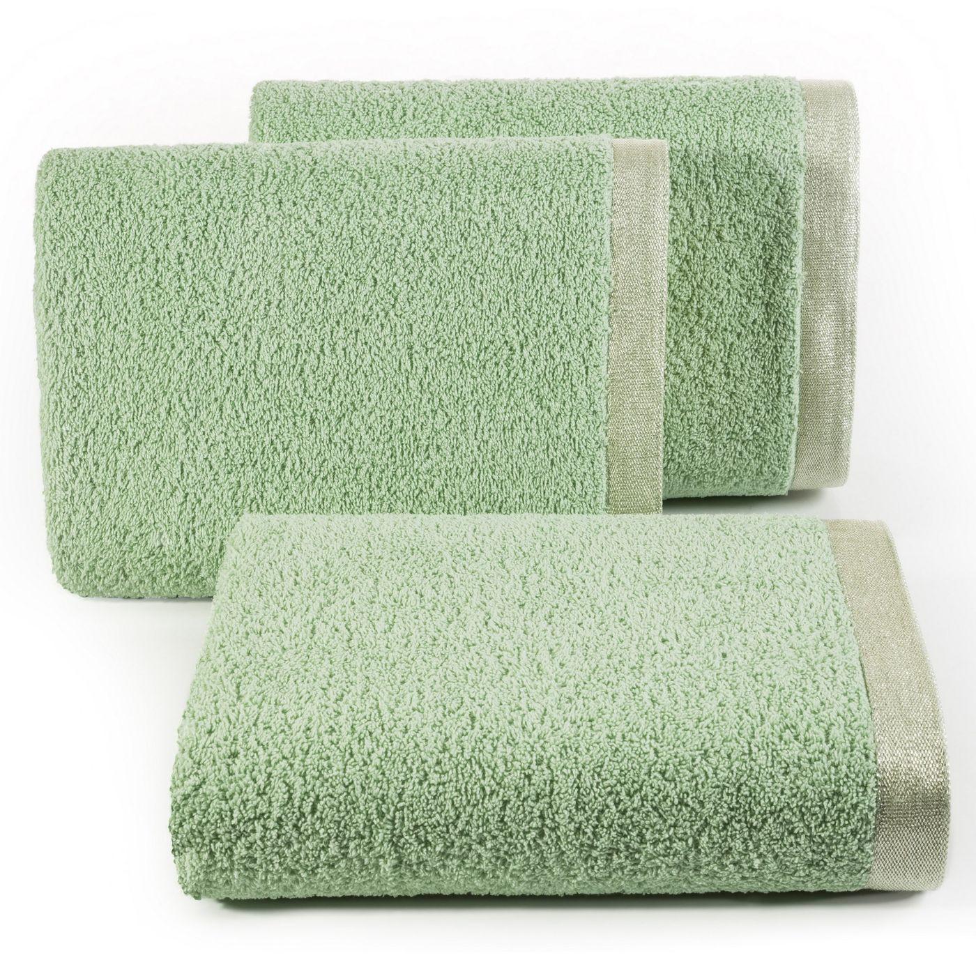 Ręcznik z bawełny z błyszczącym brzegiem 70x140cm miętowy