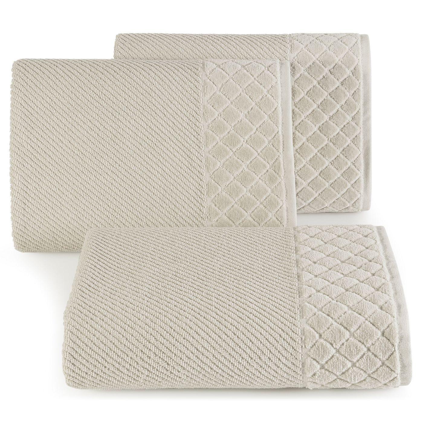 Ręcznik z bawełny z miękką bordiurą w kosteczkę 50x90cm beżowy