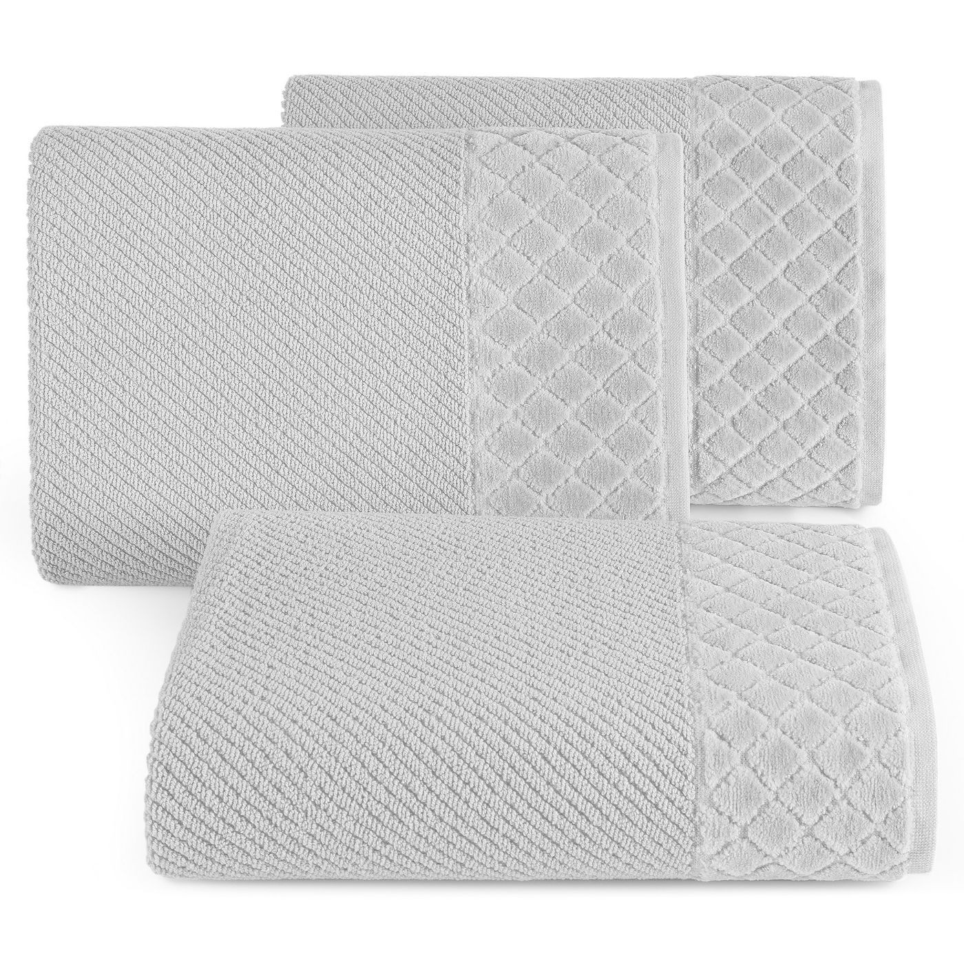 Ręcznik z bawełny z miękką bordiurą w kosteczkę 70x140cm popielaty