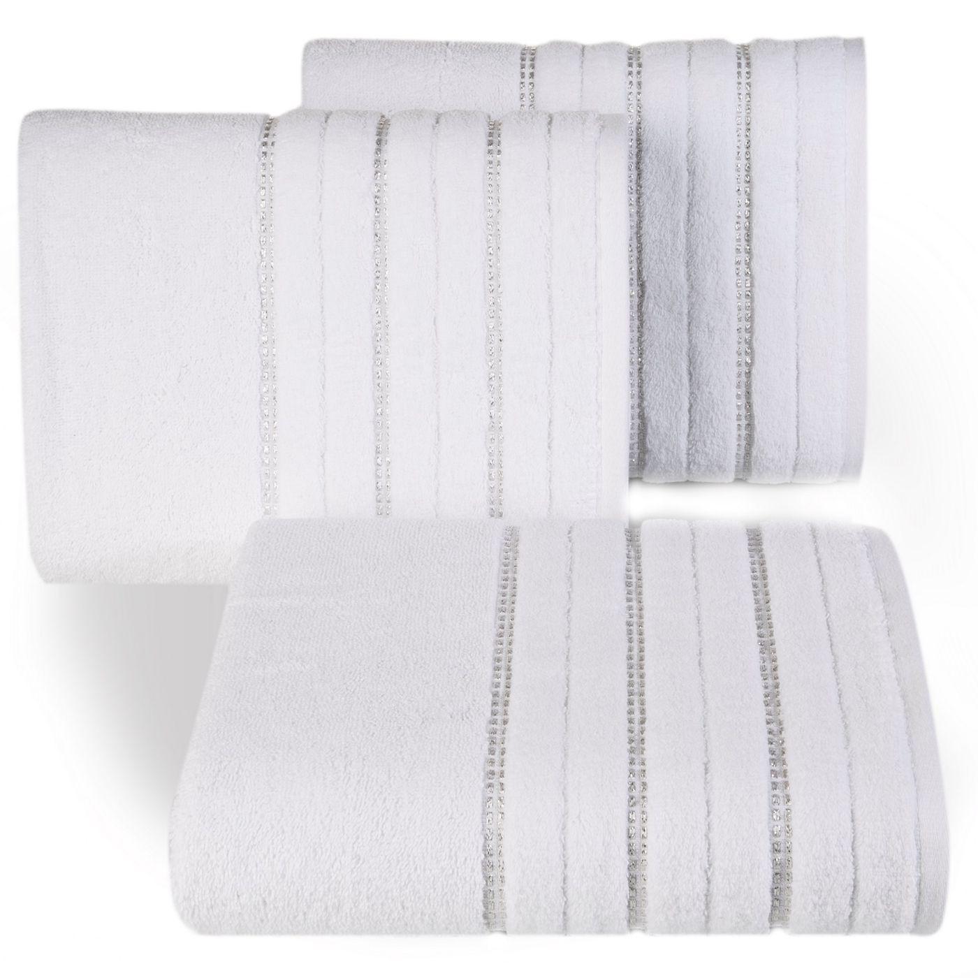 Biały ręcznik kąpielowy z metaliczną nicią - 50x90 cm