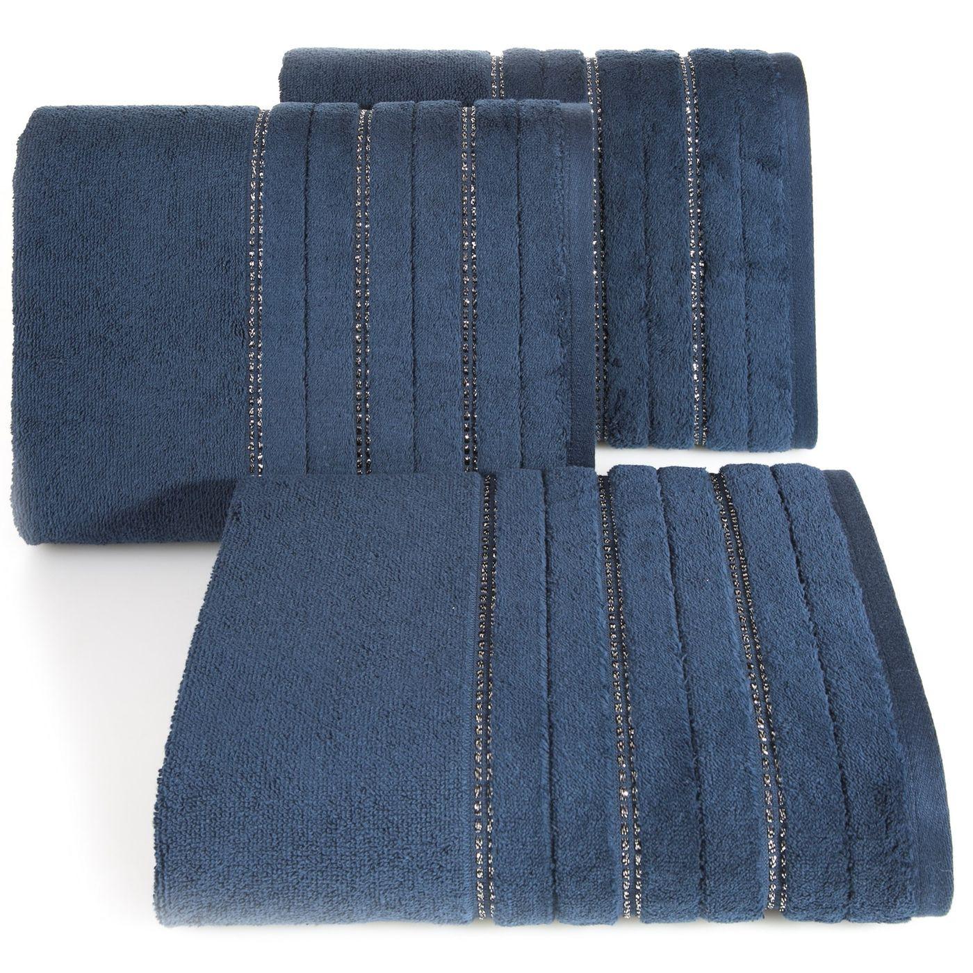 Granatowy ręcznik kąpielowy z metaliczną nicią - 50x90 cm