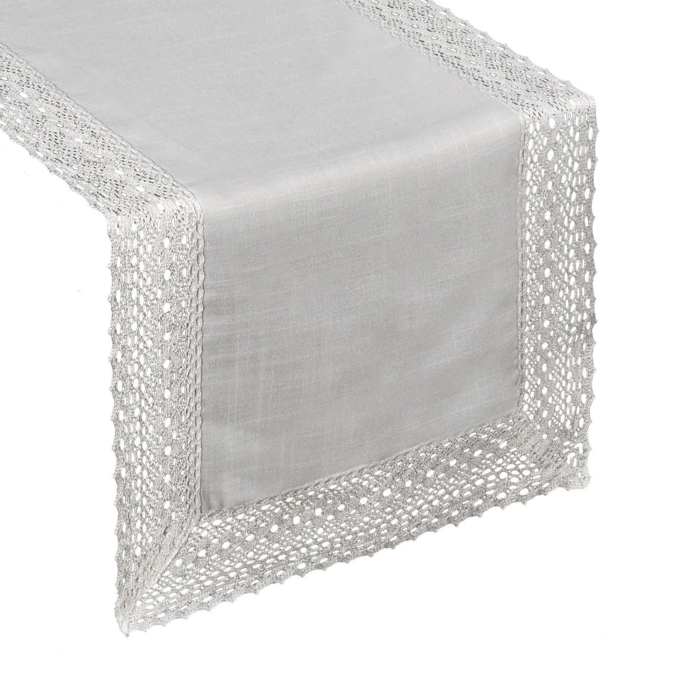 Srebrny bieżnik do jadalni z gipiurą 40x180 cm