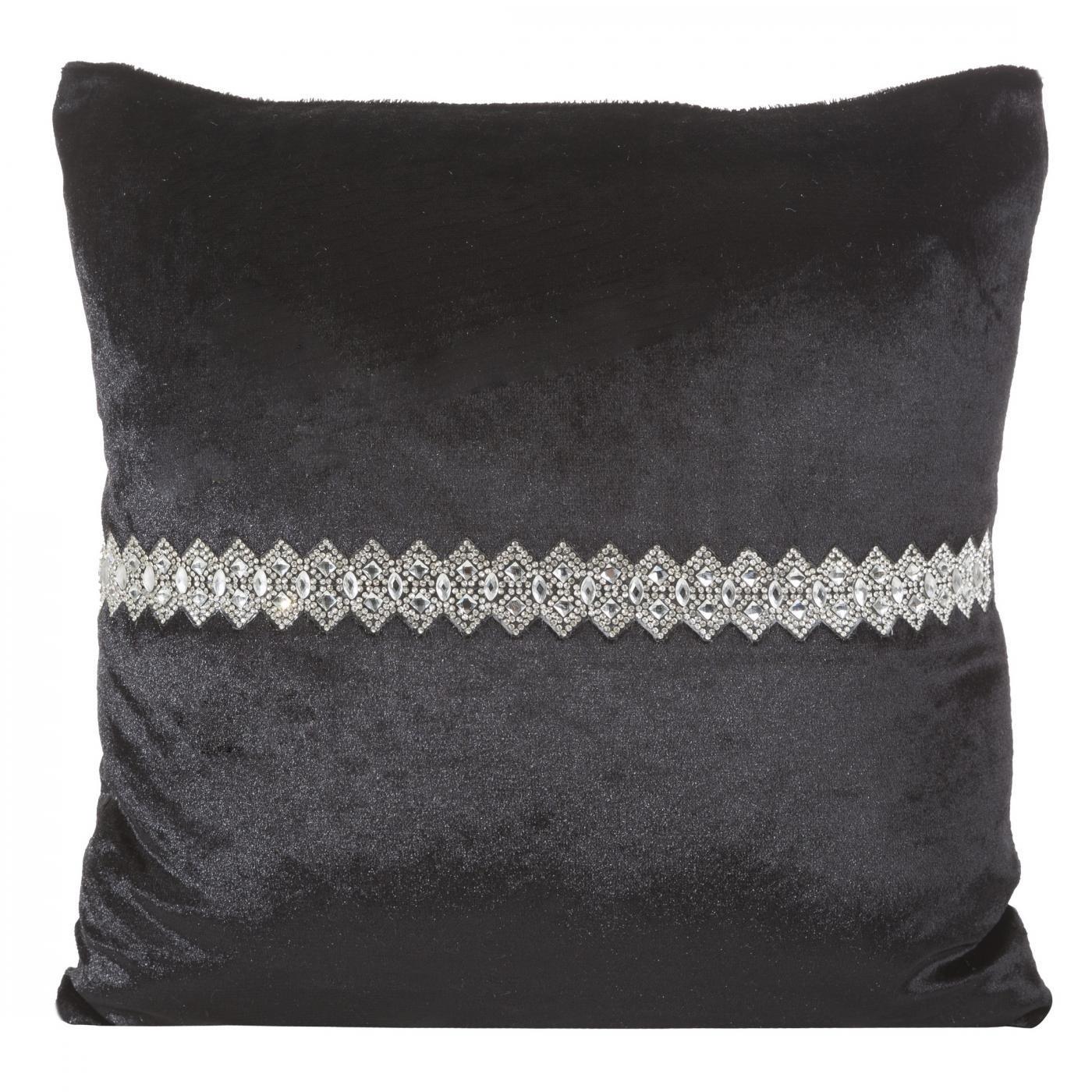Poszewka na poduszkę czarna ze srebrnym paskiem 40 x 40