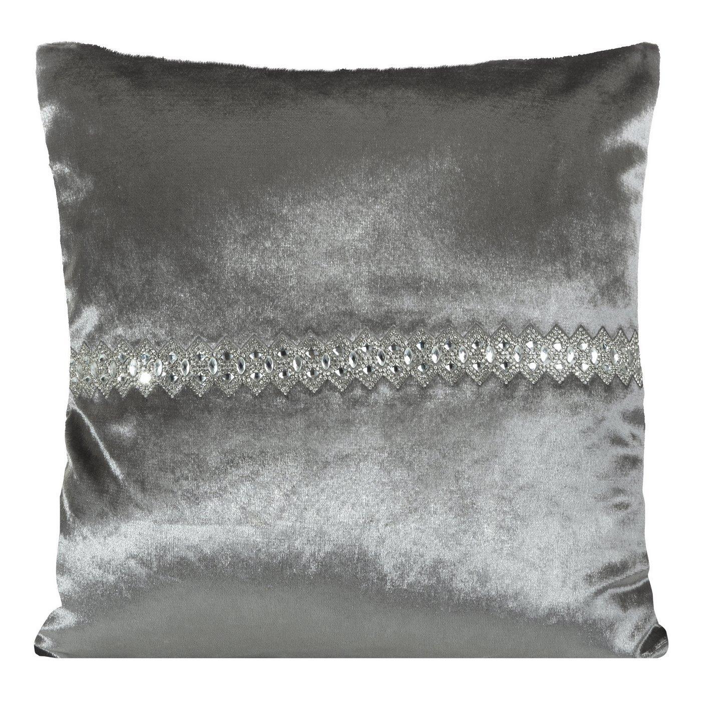 Poszewka na poduszkę stalowa ze srebrnym paskiem 40 x 40 cm