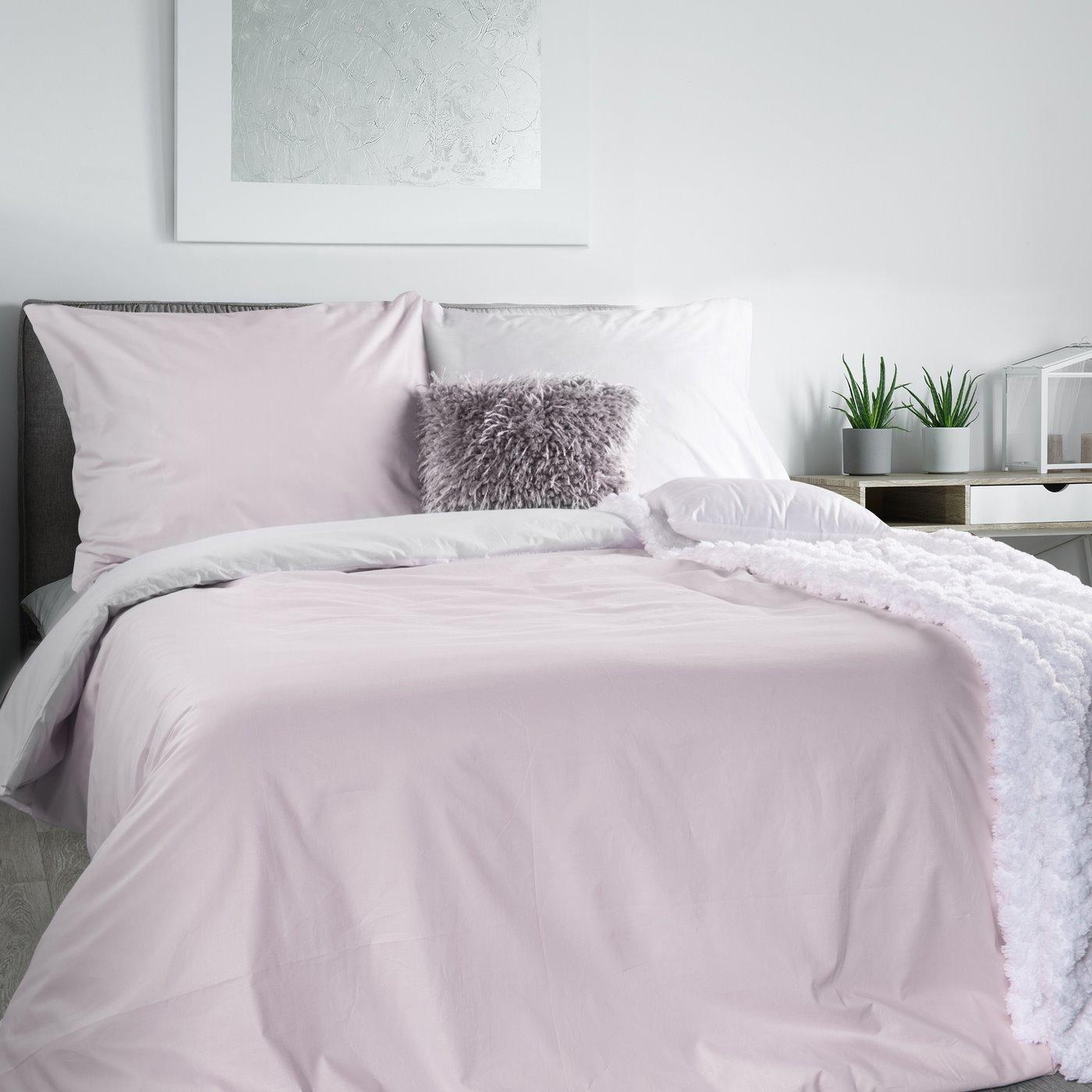 Komplet pościeli bawełnianej rozmiar: 220x200 cm, 2 szt. 70x80 cm dwustronny biało-różowy