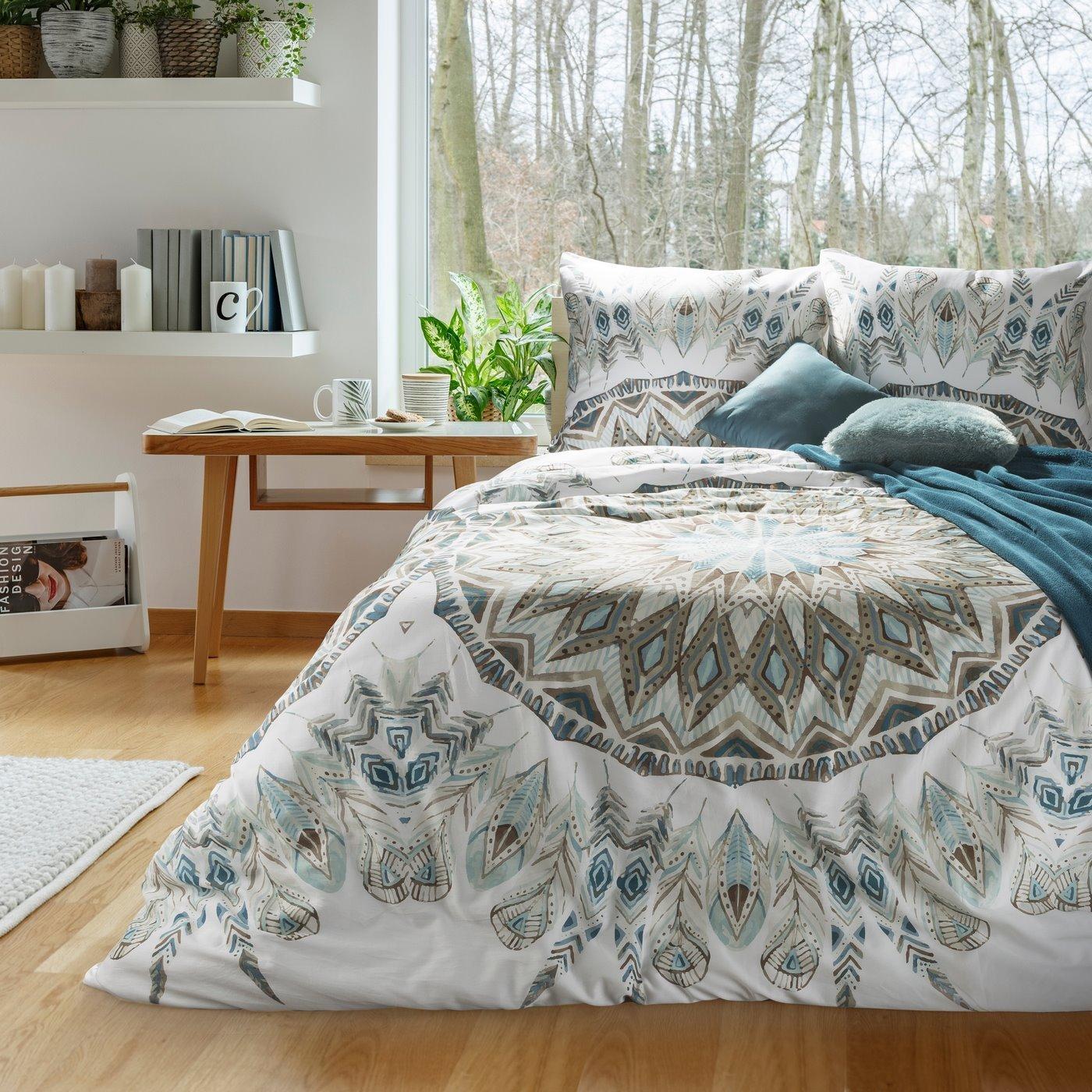 Komplet pościeli z satyny bawełnianej 220x200 cm, 2 szt. 70x80 cm nadruk indiański łapacz snów