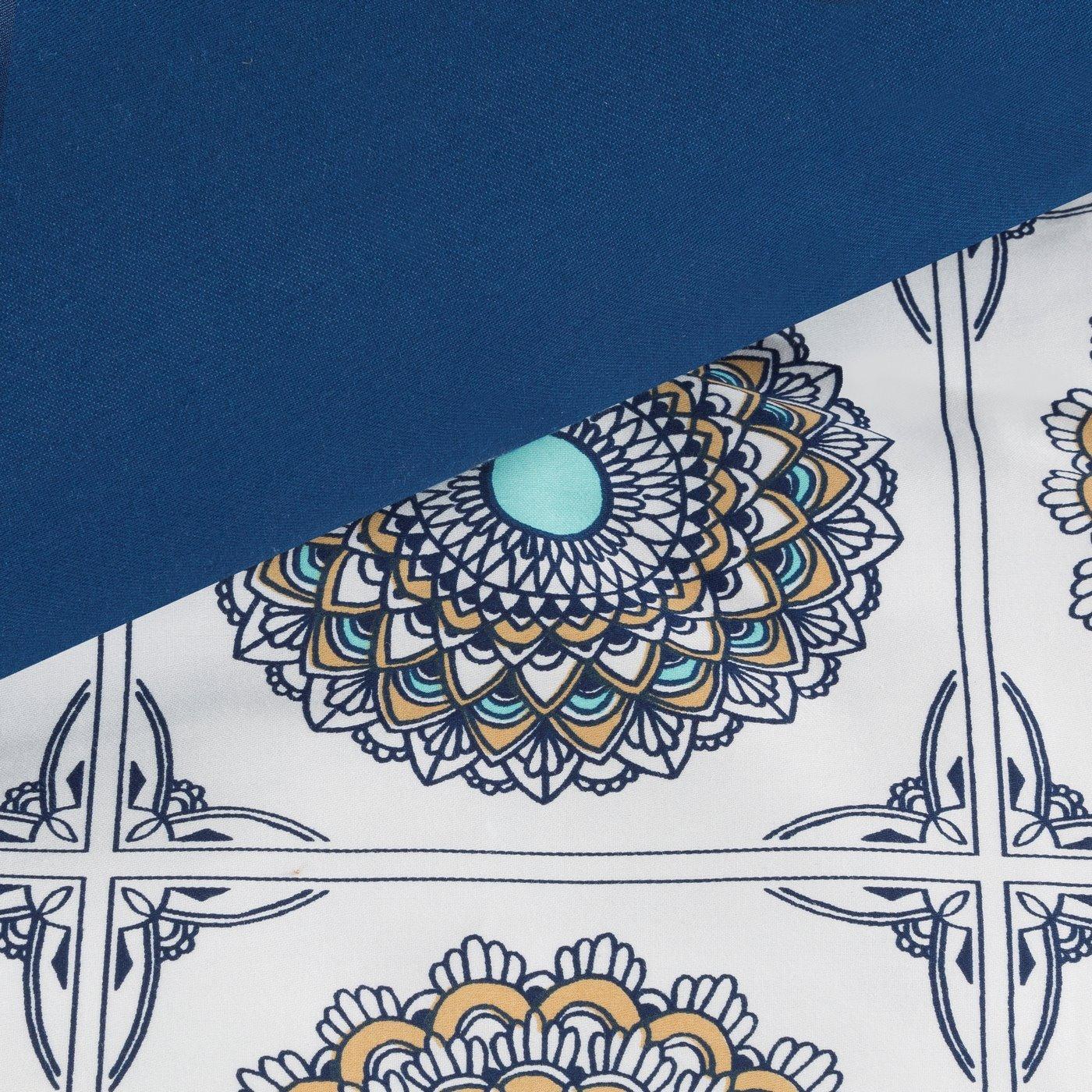 Komplet pościeli z satyny bawełnianej 160x200 cm, 2 szt. 70x80 cm nadruk mandale w kwadratach