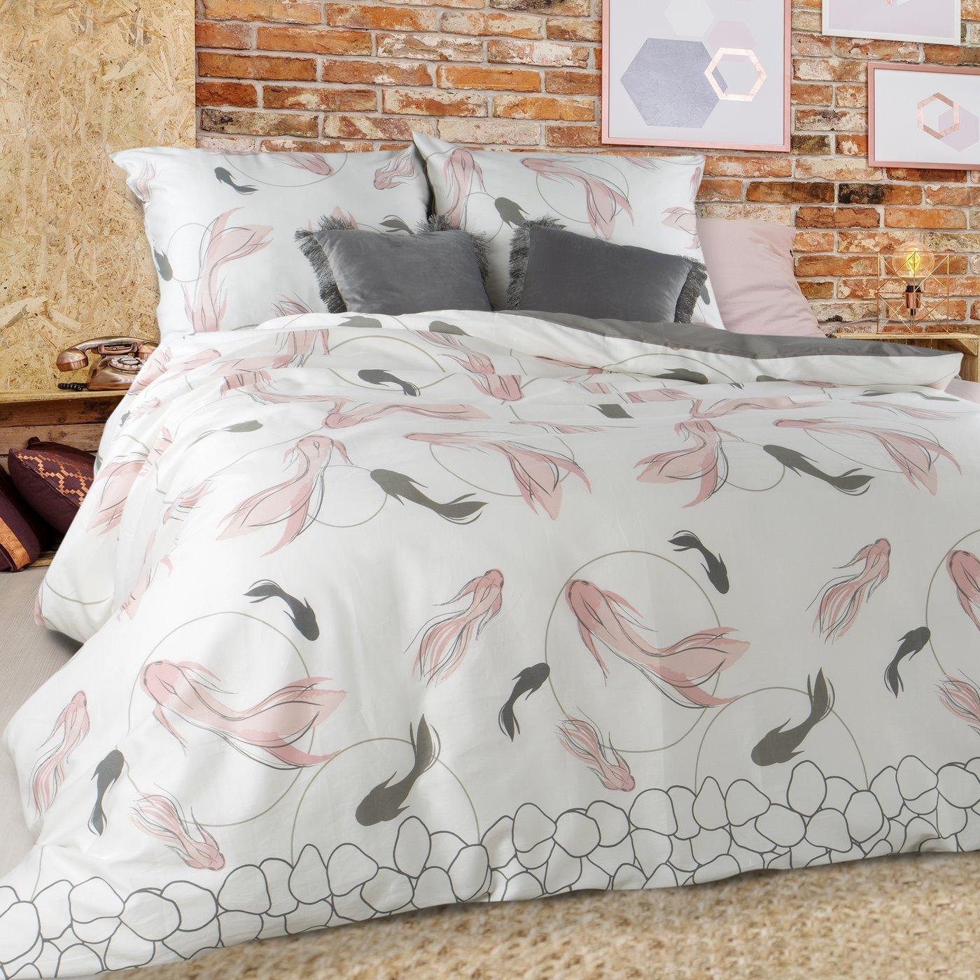 Komplet pościeli satynowej 220 x 200 cm, 2szt. 70 x 80 cm, biała różowa szara, ryby