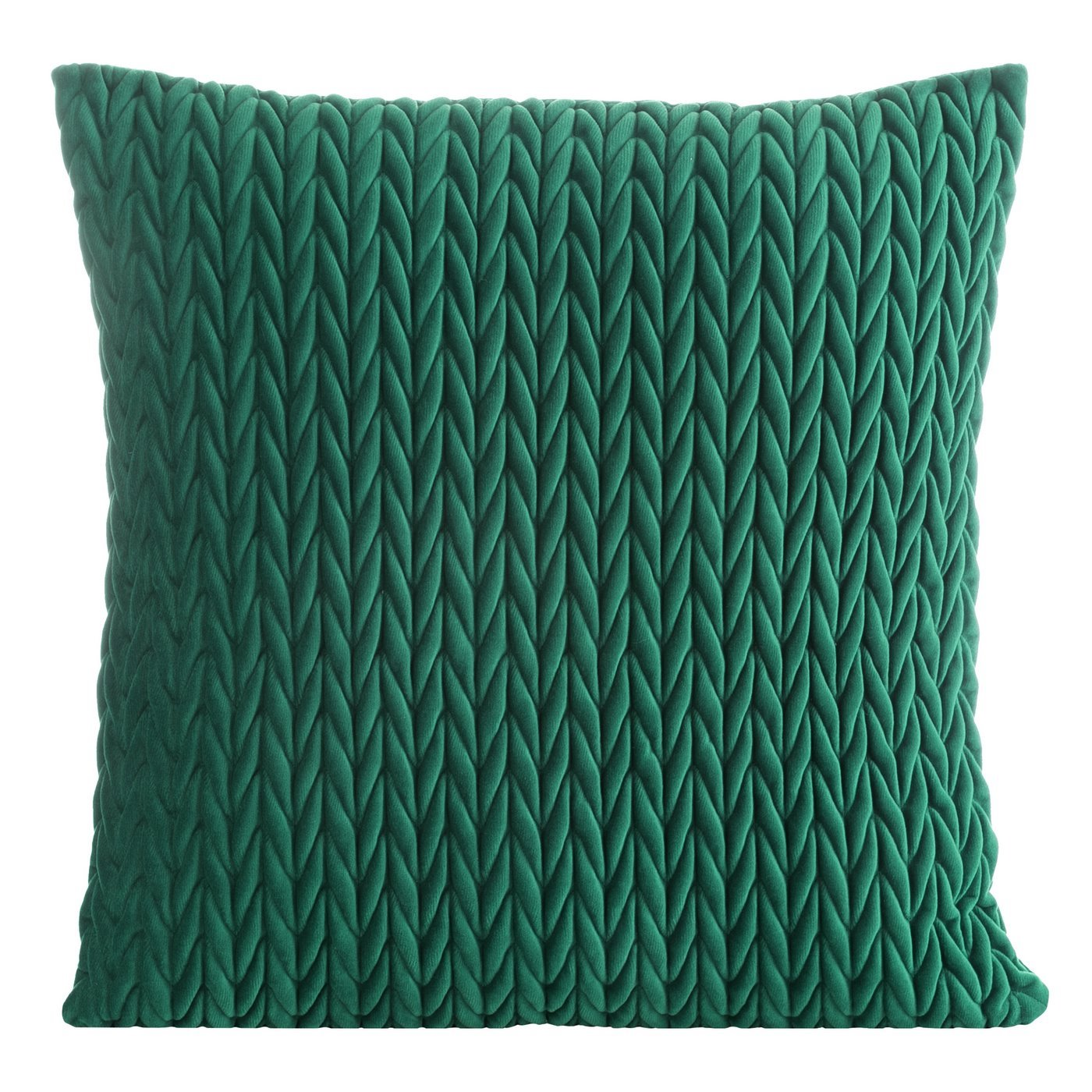 Poszewka na poduszkę 45 x 45 cm z oryginalnym motywem plecionki zielona