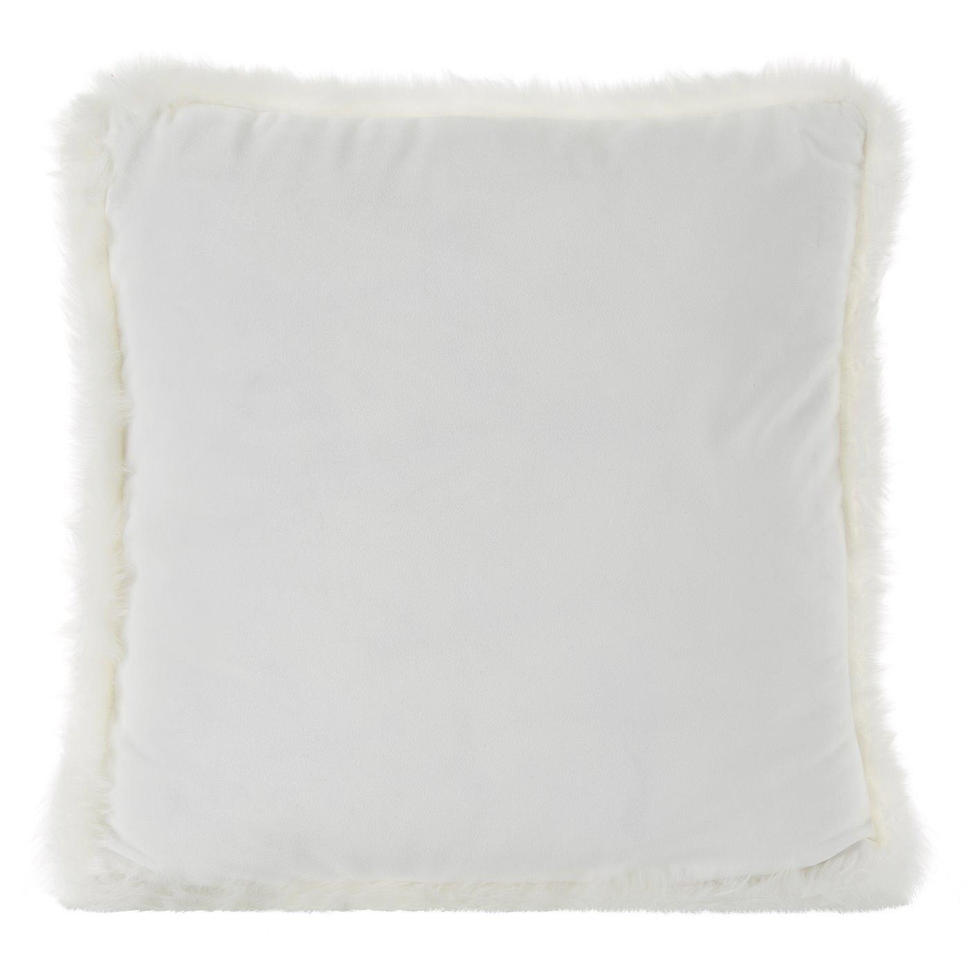 Poszewka na poduszkę 45 x 45 cm kremowa z futerkowym obszyciem