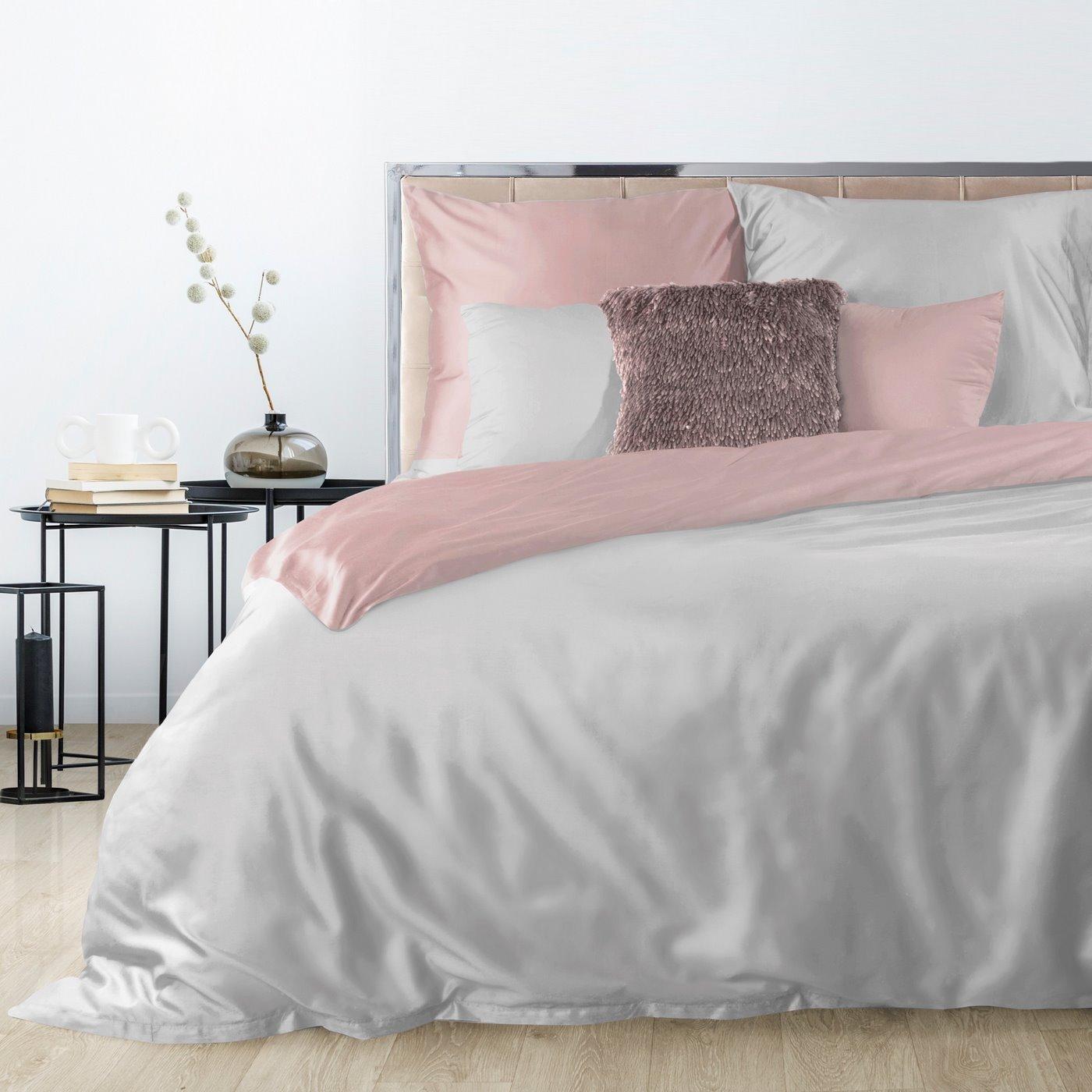 Komplet pościeli z makosatyny bawełnianej 140 x 200 cm, 1szt. 70 x 80 cm, popielato-różowy