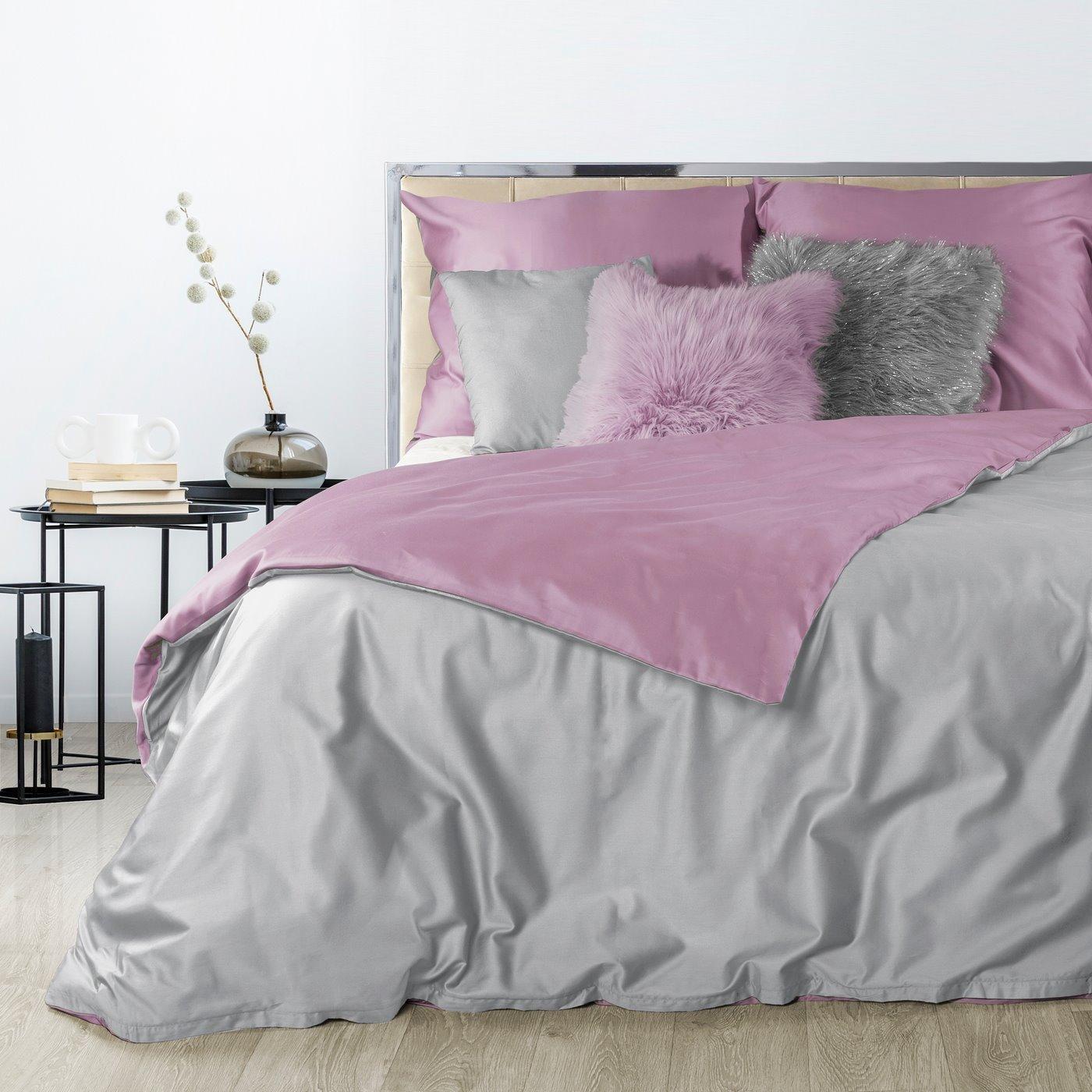 Komplet pościeli z makosatyny bawełnianej 160 x 200 cm, 2szt. 70 x 80 cm, popielato-różowy