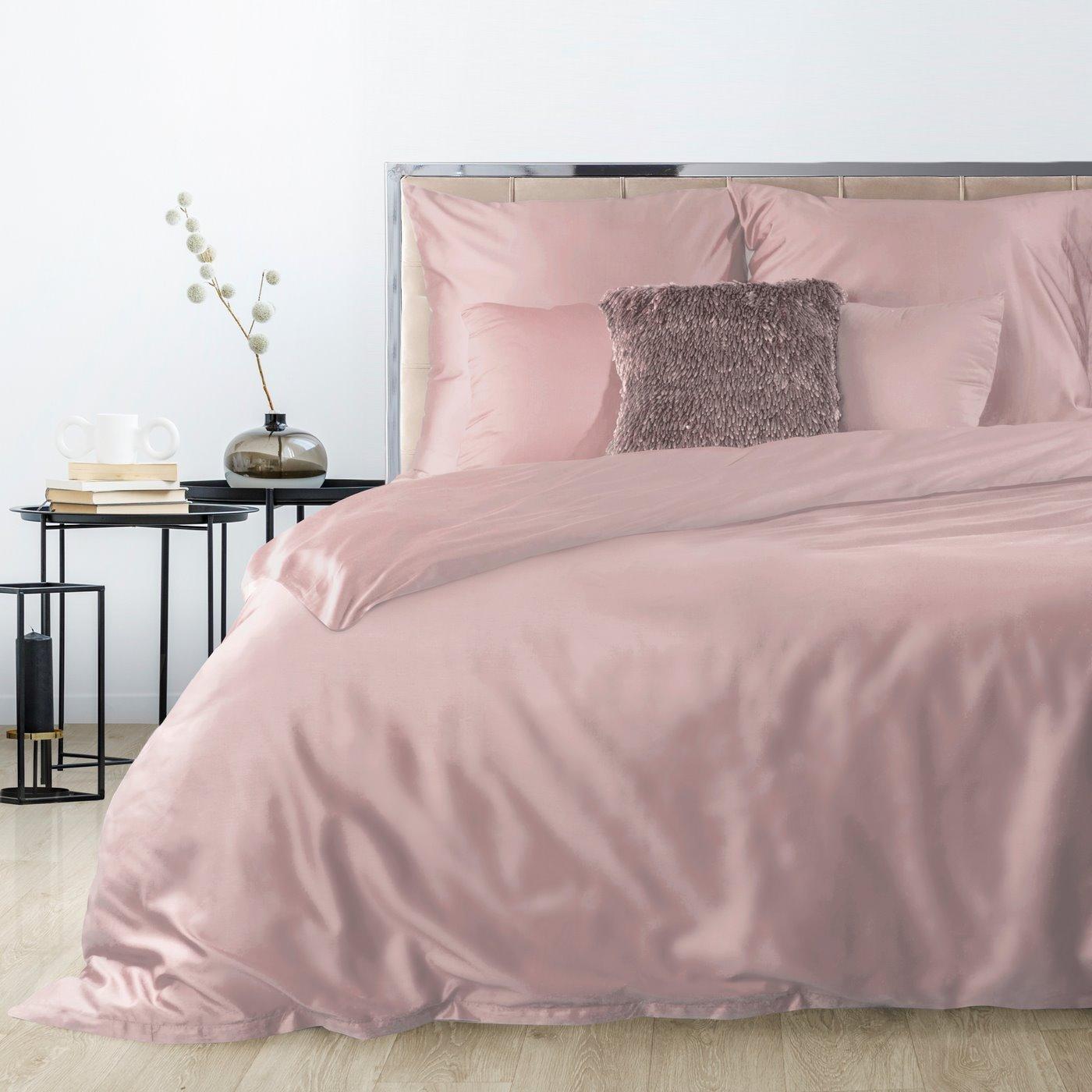 Komplet pościeli z makosatyny bawełnianej 180 x 200 cm, 2szt. 70 x 80 cm, pudrowy róż