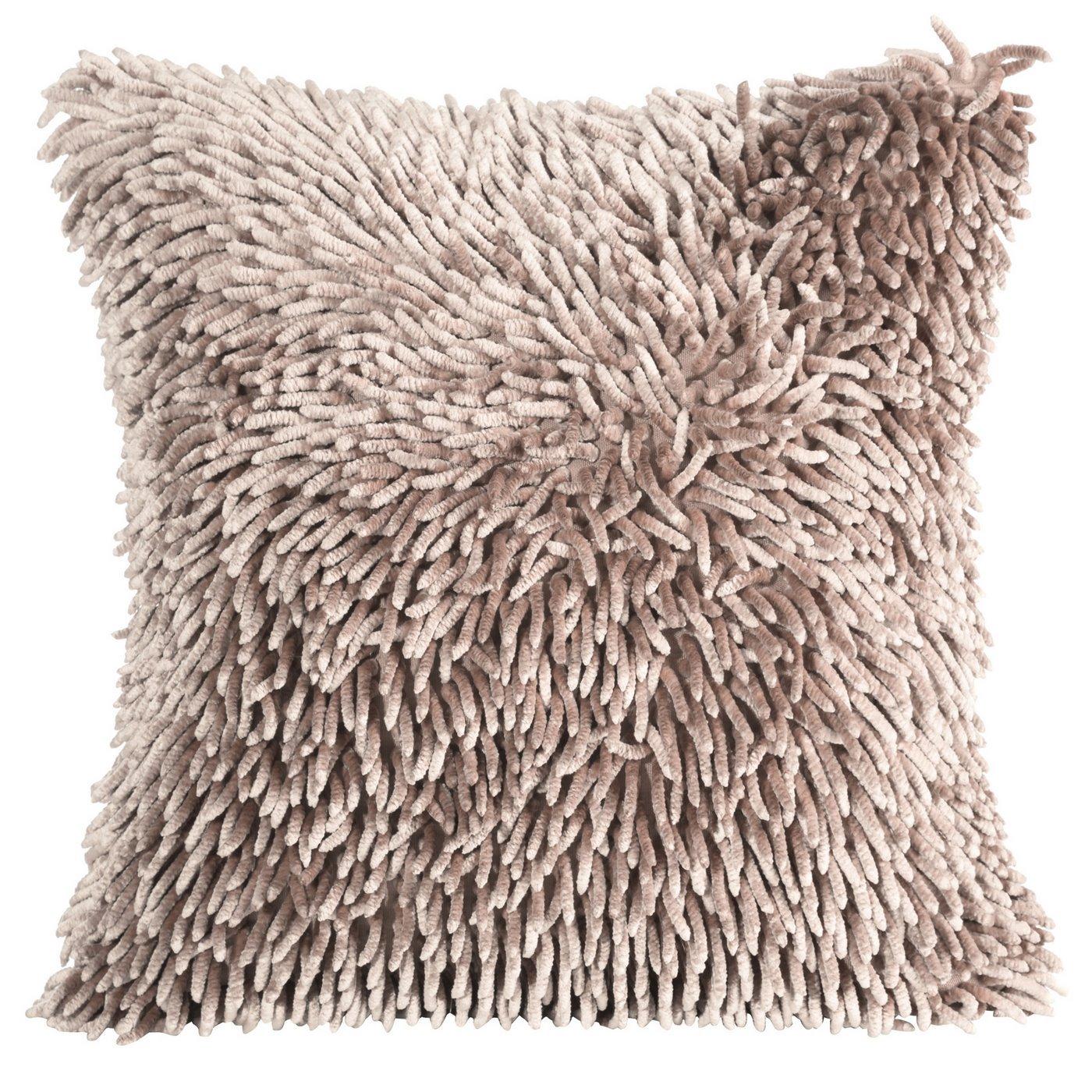 Poszewka na poduszkę włosie shaggy pudrowa 40 x 40 cm