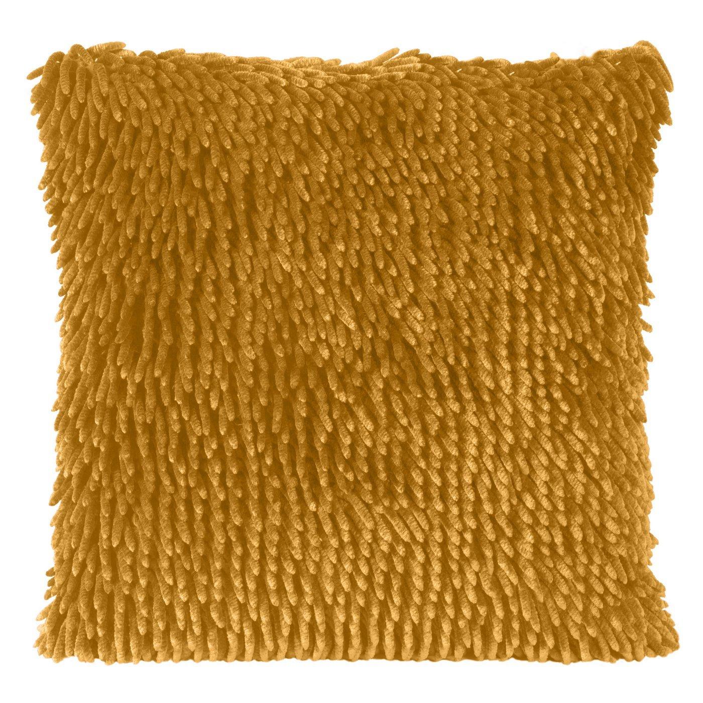 Poszewka na poduszkę włosie shaggy musztardowa 40 x 40 cm